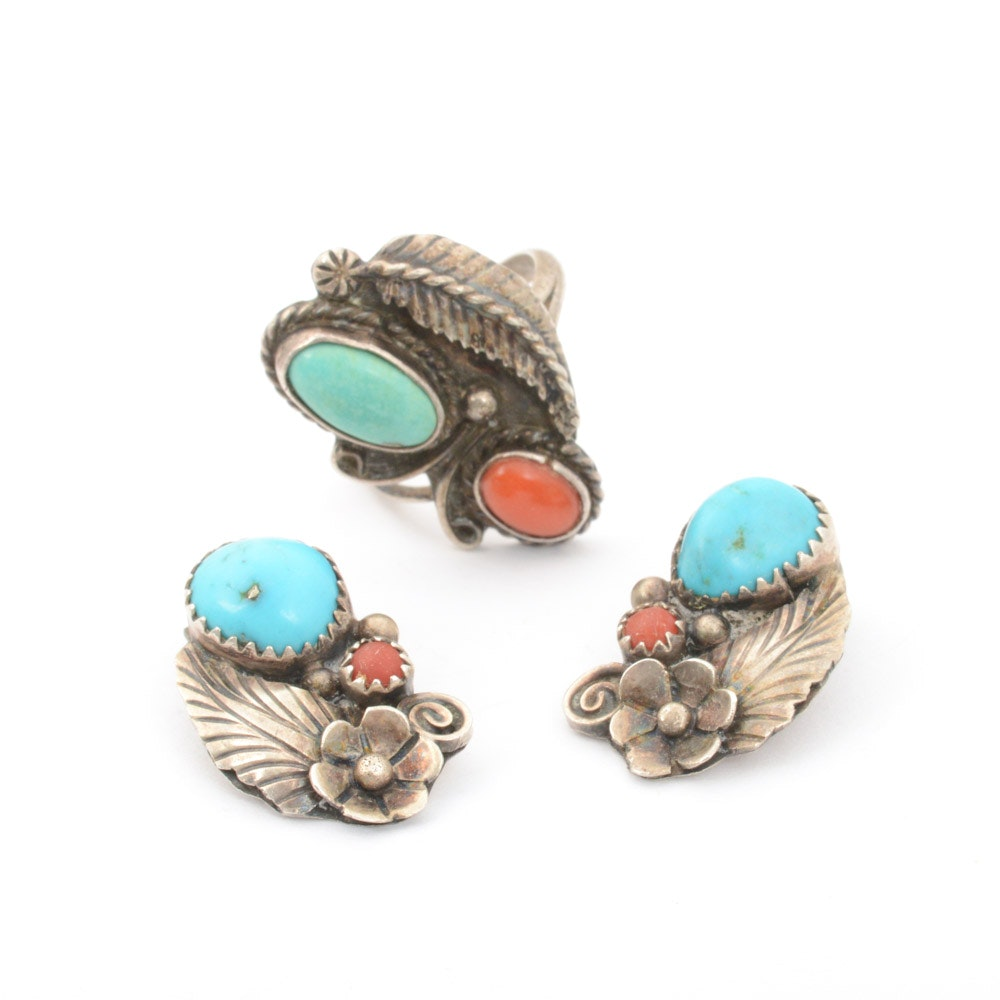 Foster Yazzie Navajo Sterling Silver Earrings With Ring