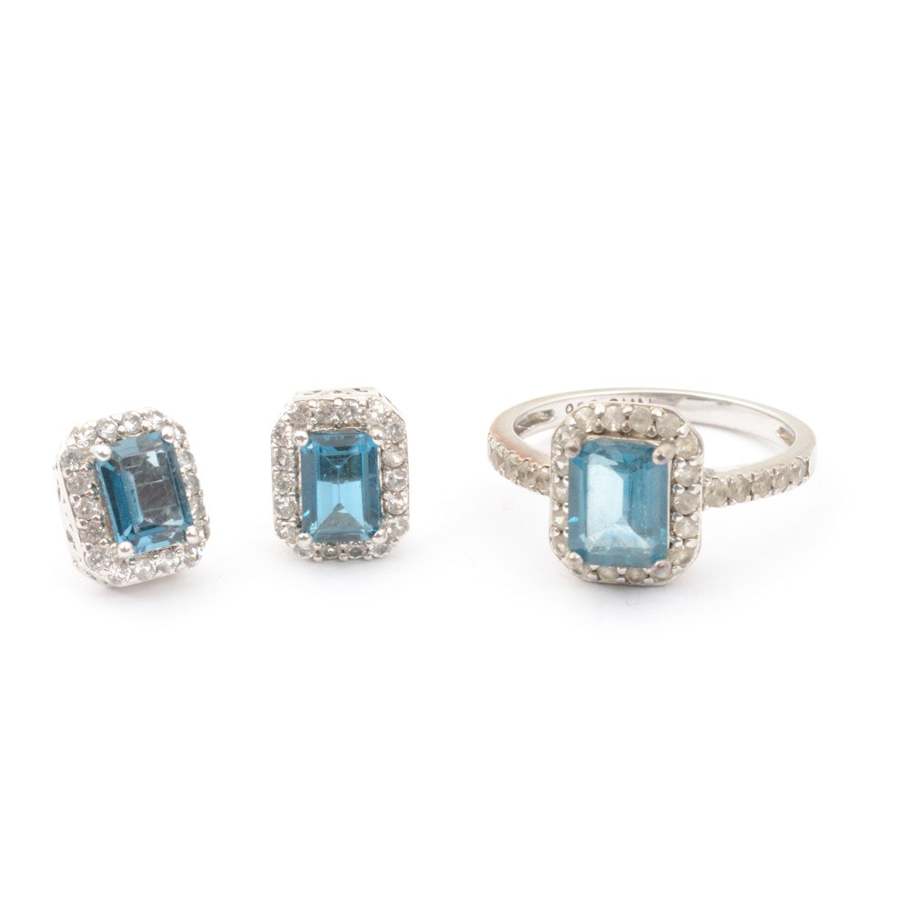 Sterling Silver Blue Topaz Ring and Earrings Set