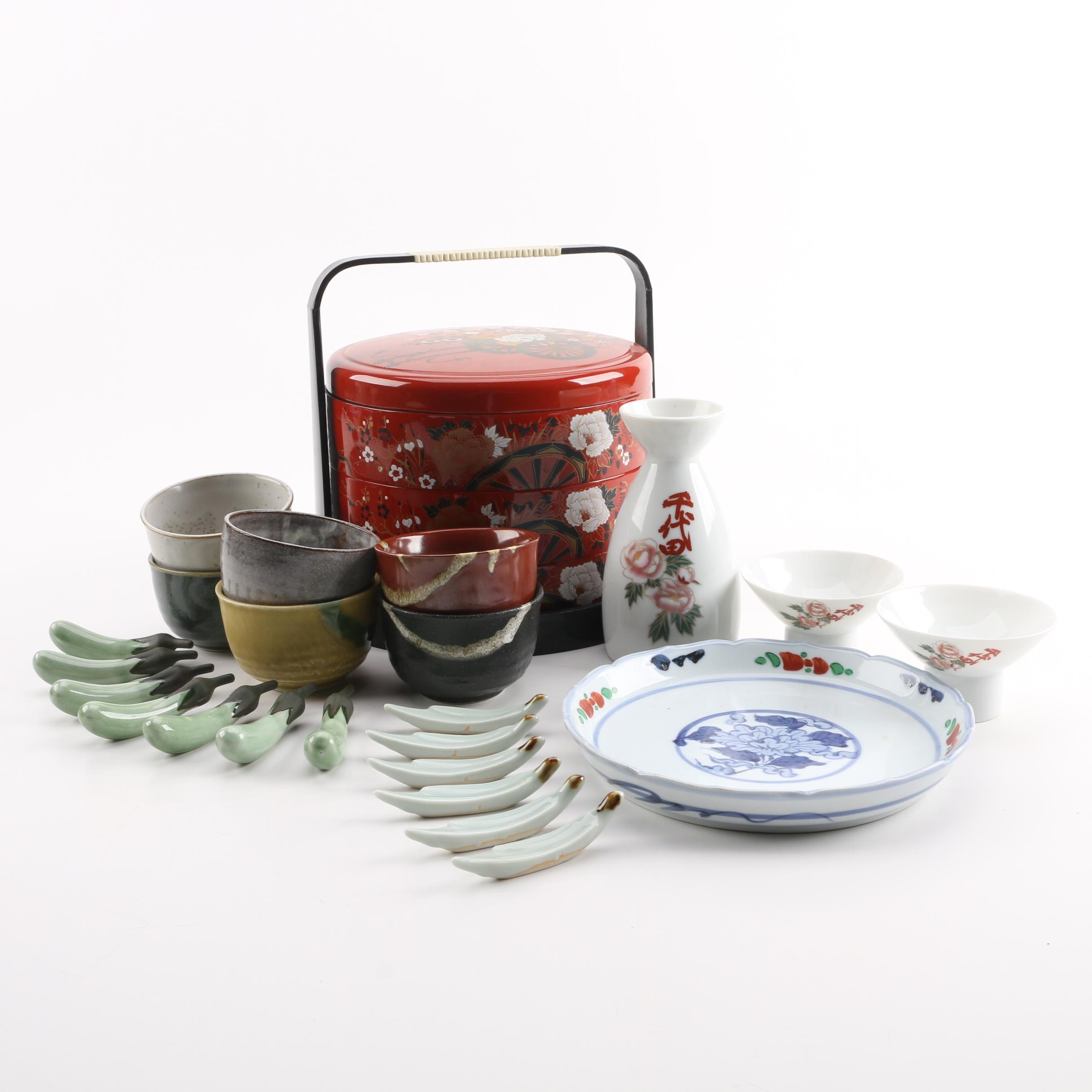 Vintage Lacquer Ware Tiffin and Other Asian Serveware
