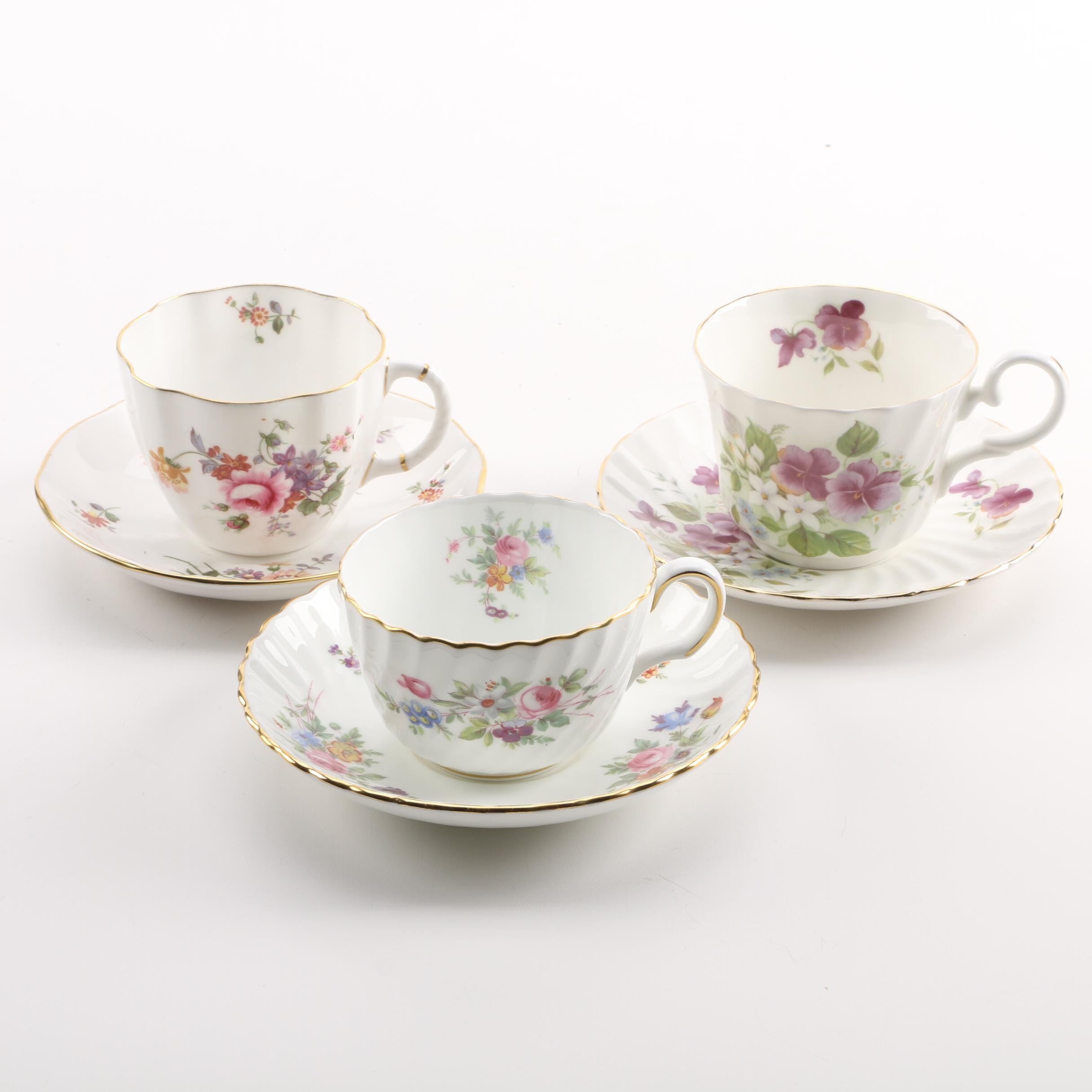 Vintage Porcelain Teacups and Saucers Featuring Derby China