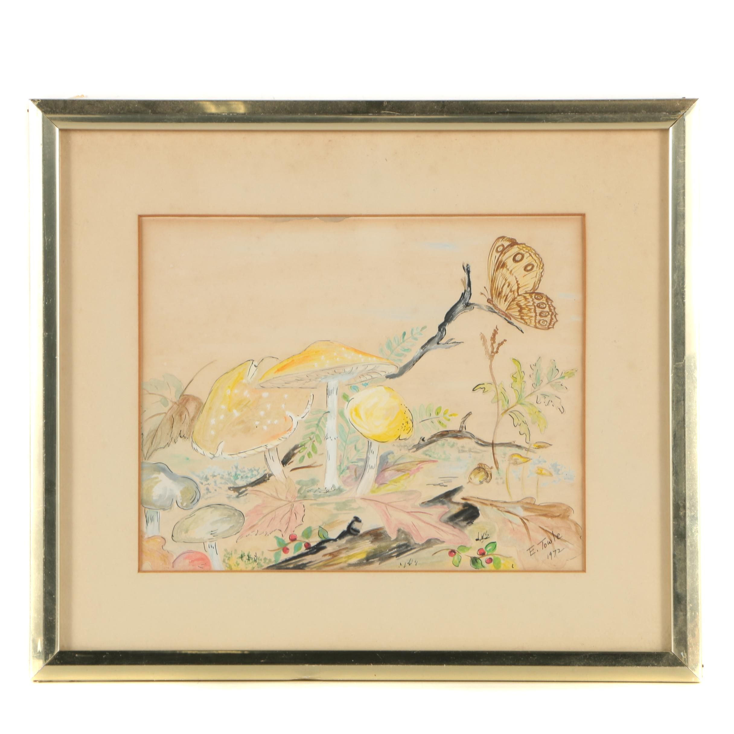 E. Towle 1972 Ink and Watercolor Painting Nature Scene
