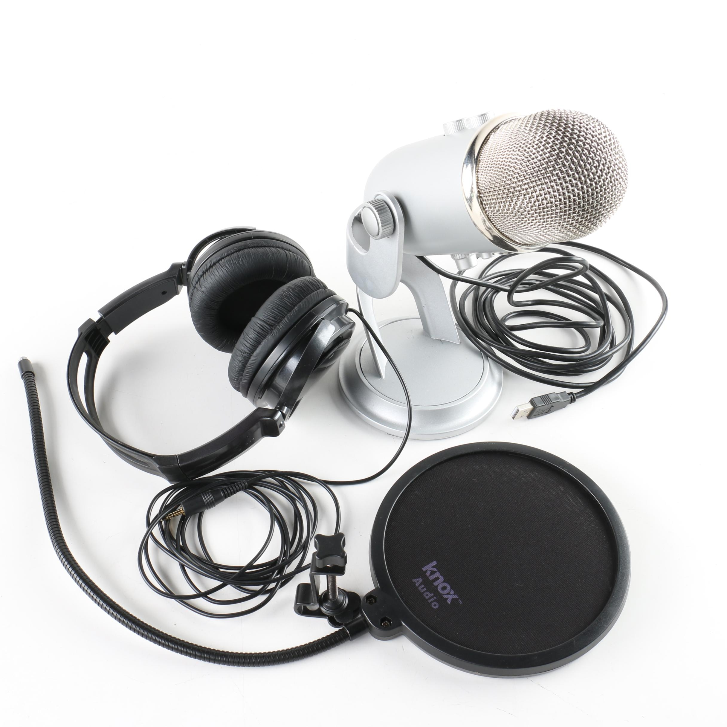Blue Yeti USB Condenser Microphone with Knox Audio Pop Filter and Headphones