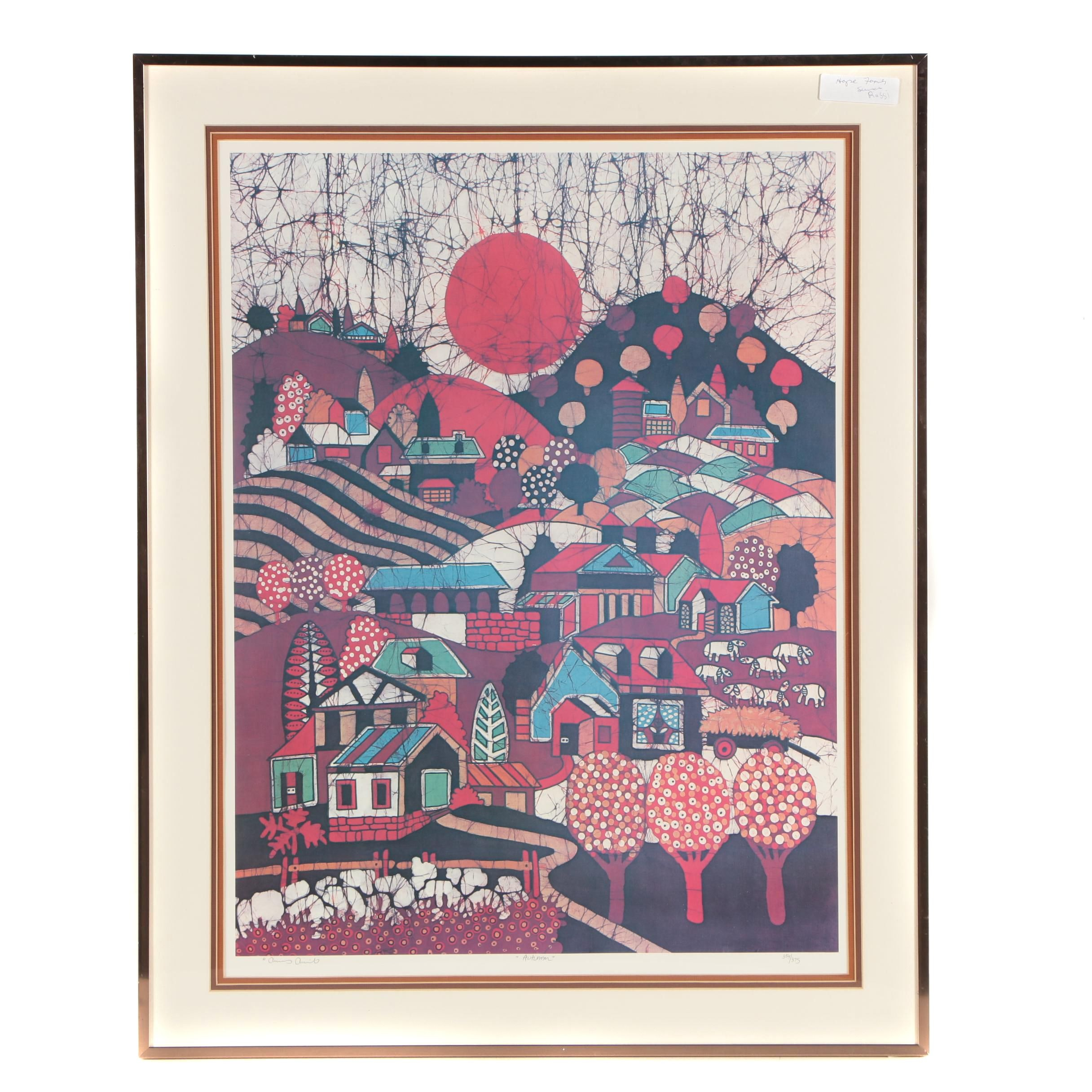 "Amos Amit Limited Edition Offset Lithograph ""Autumn"""