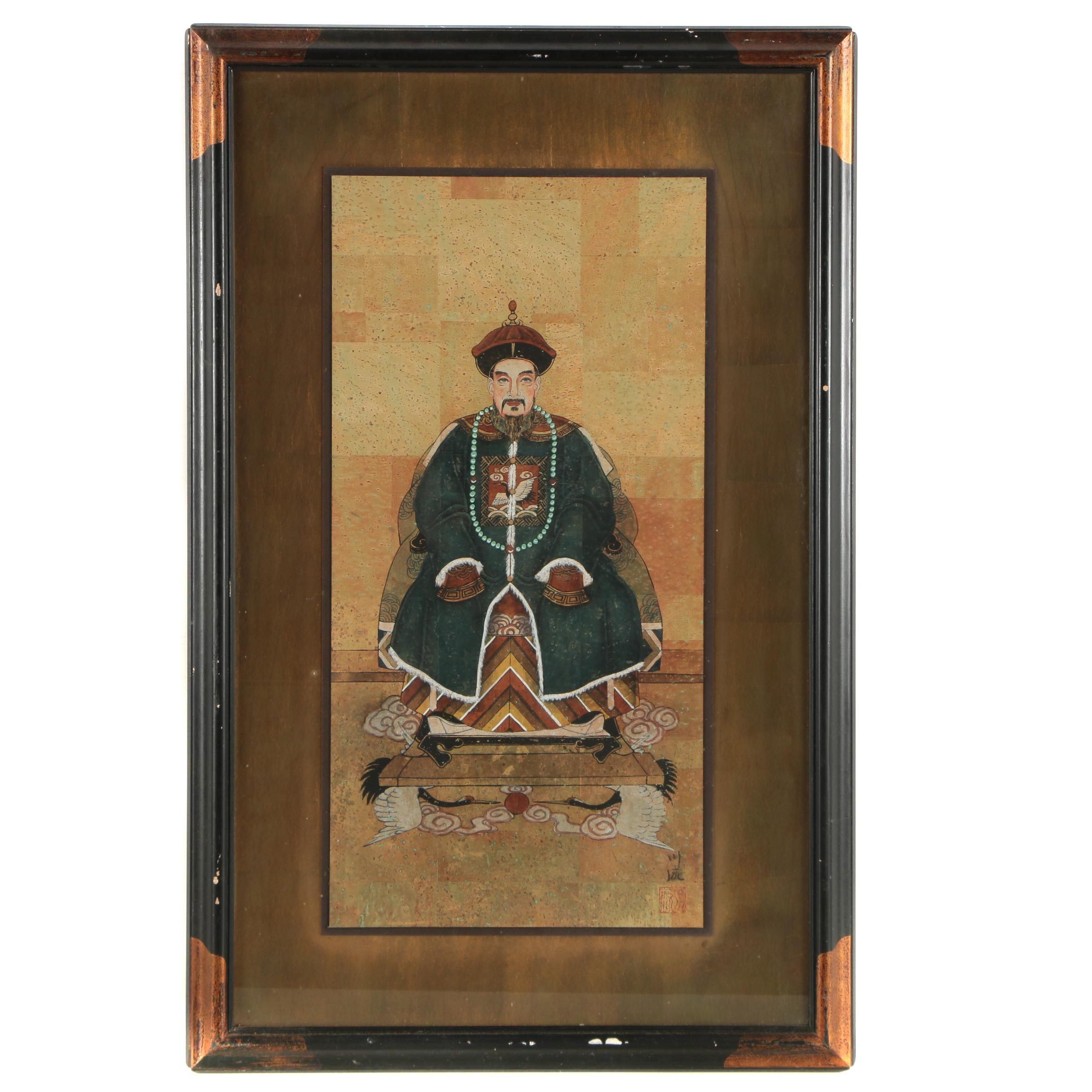 Chinese Gouache Ancestor Painting