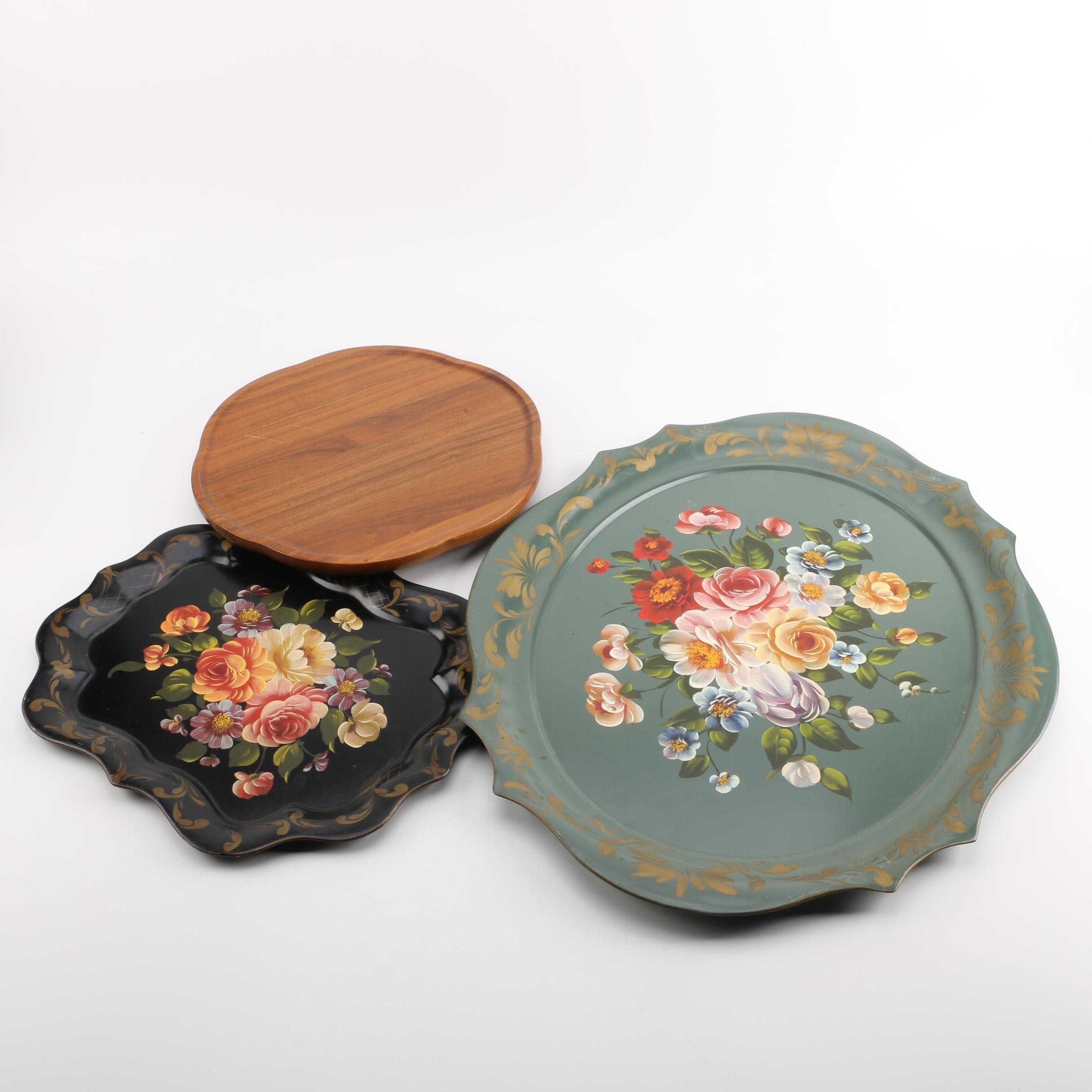 Hand-painted Tole Style Trays with Lazy Susan