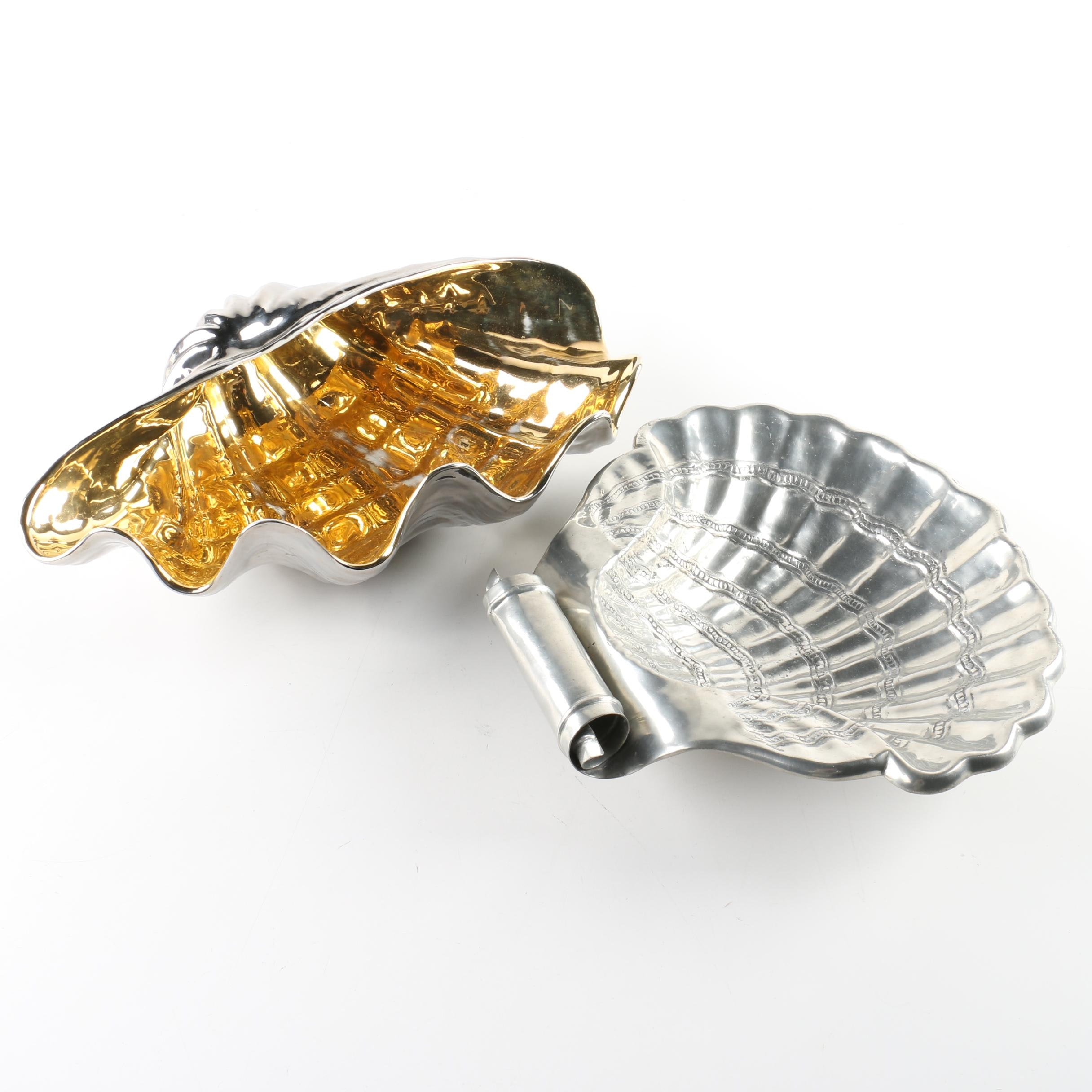 Pewter Scallop Shell Dish with Silver Tone Shell Dish