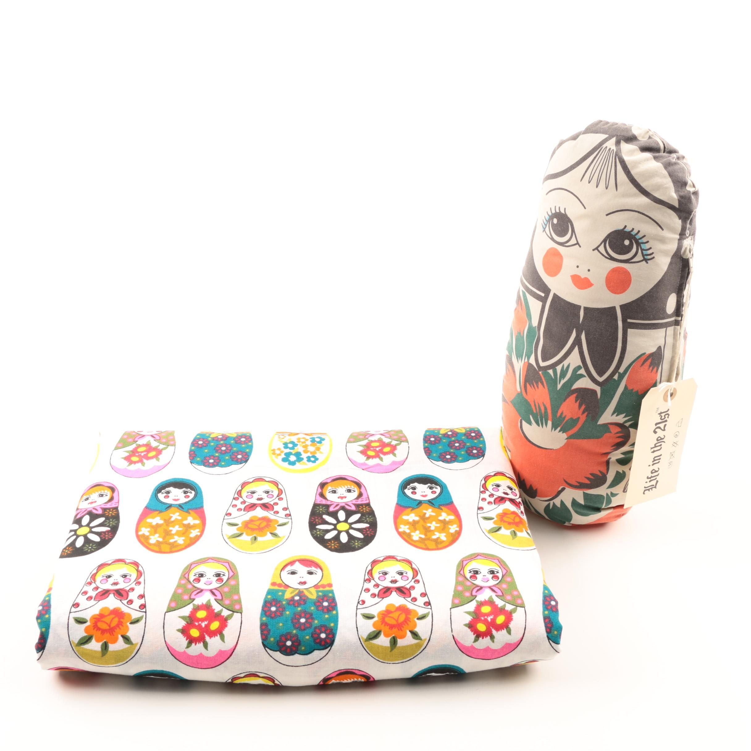 Cotton Tablecloth With Matryoska Russian Motif and Stuffed Doll