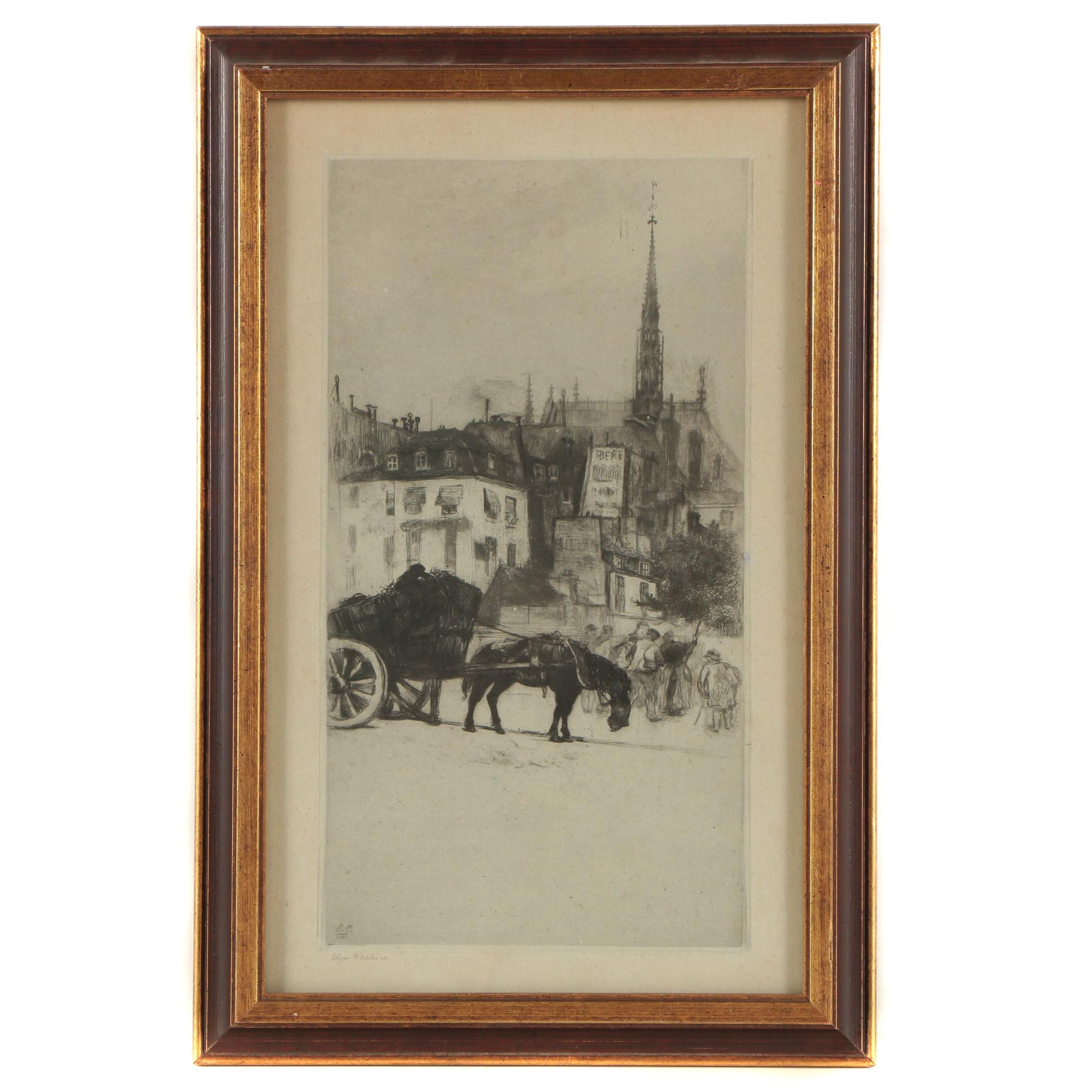 "Edgar Chahine Etching ""La Sainte Chapelle"""