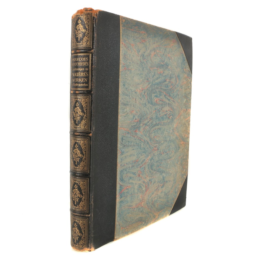 hardbound book of engravings after francois boucher ebth