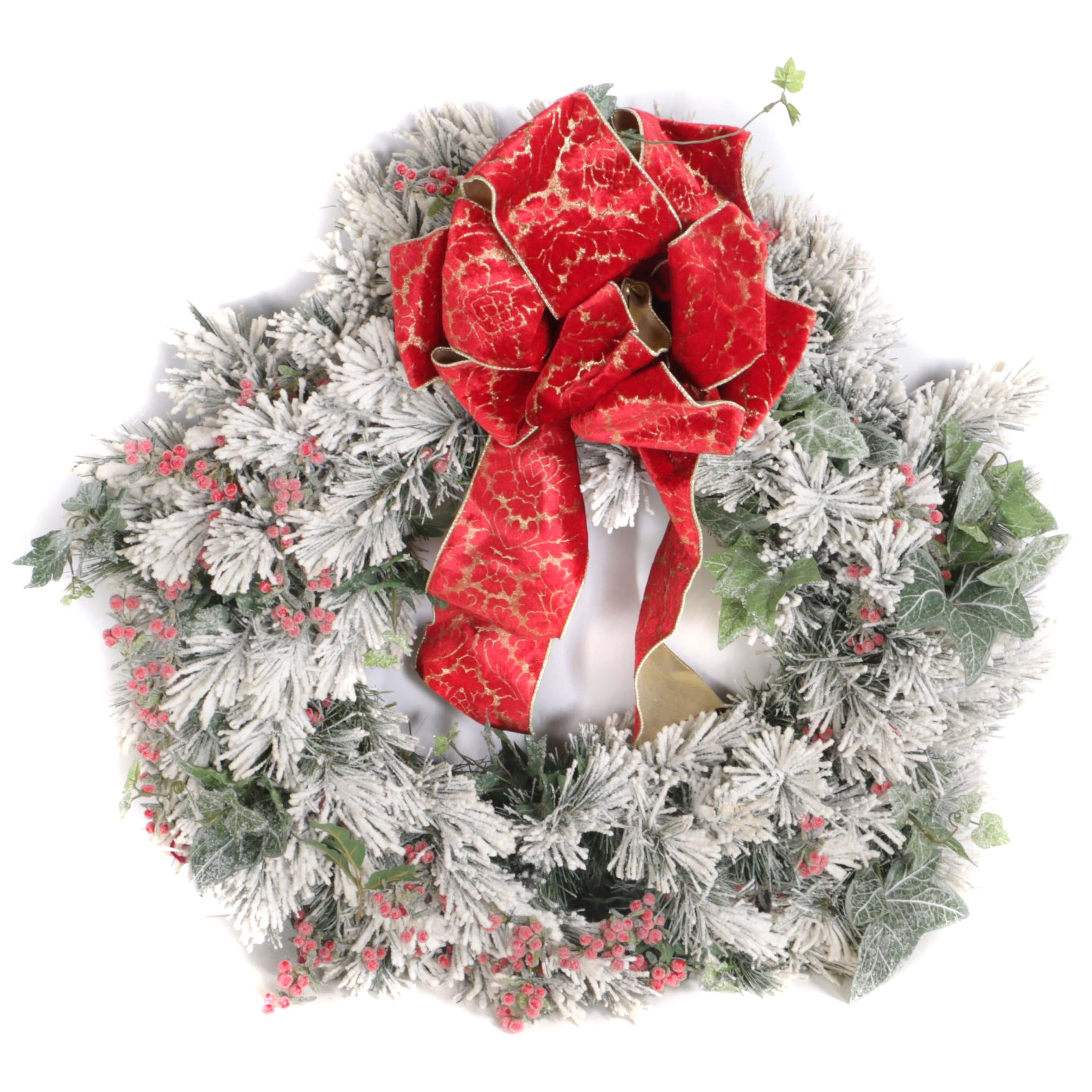 Snow Motif Christmas Wreath with Red Berry Accents and Red Bow Detail