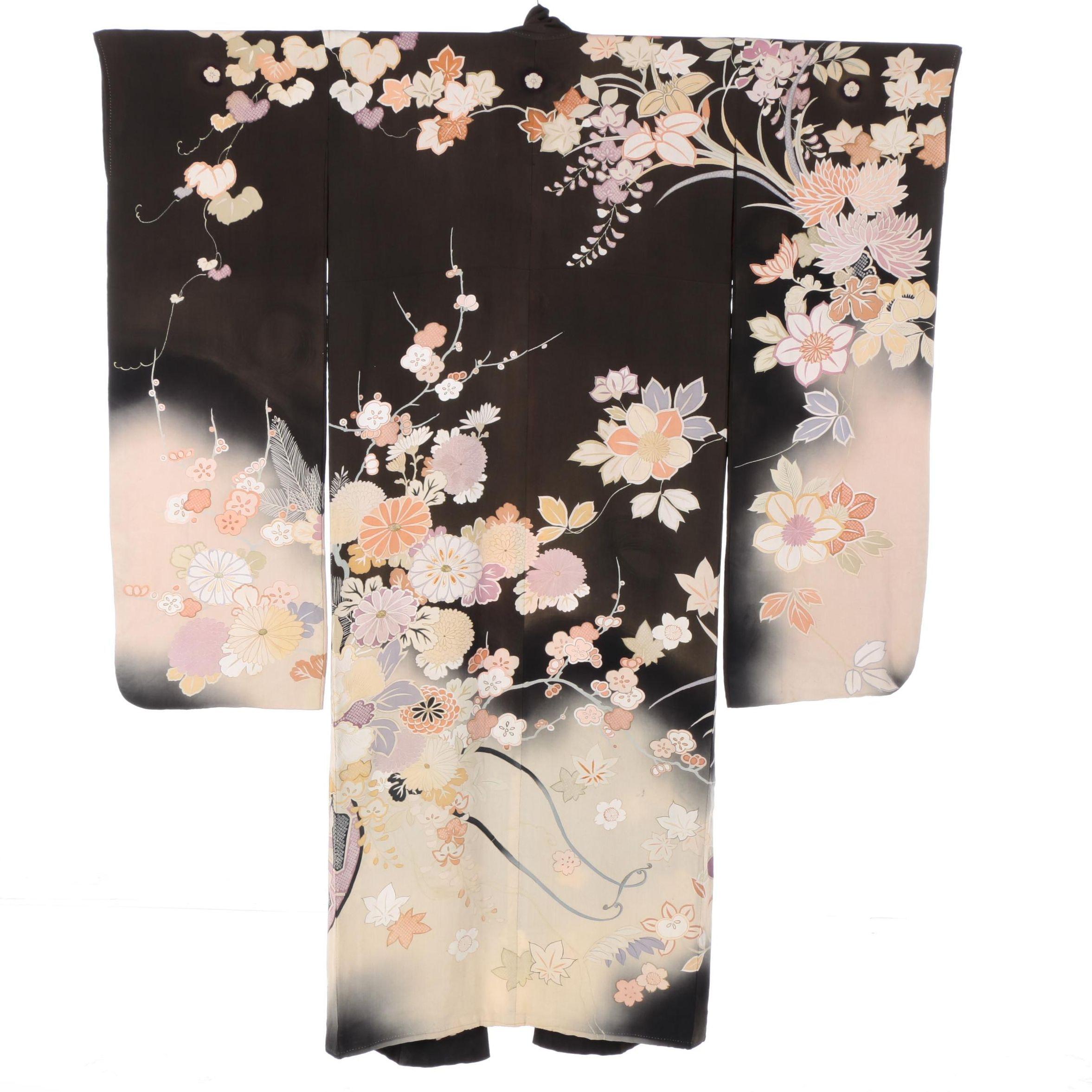 Vintage Japanese Silk Crested Furisode Kimono