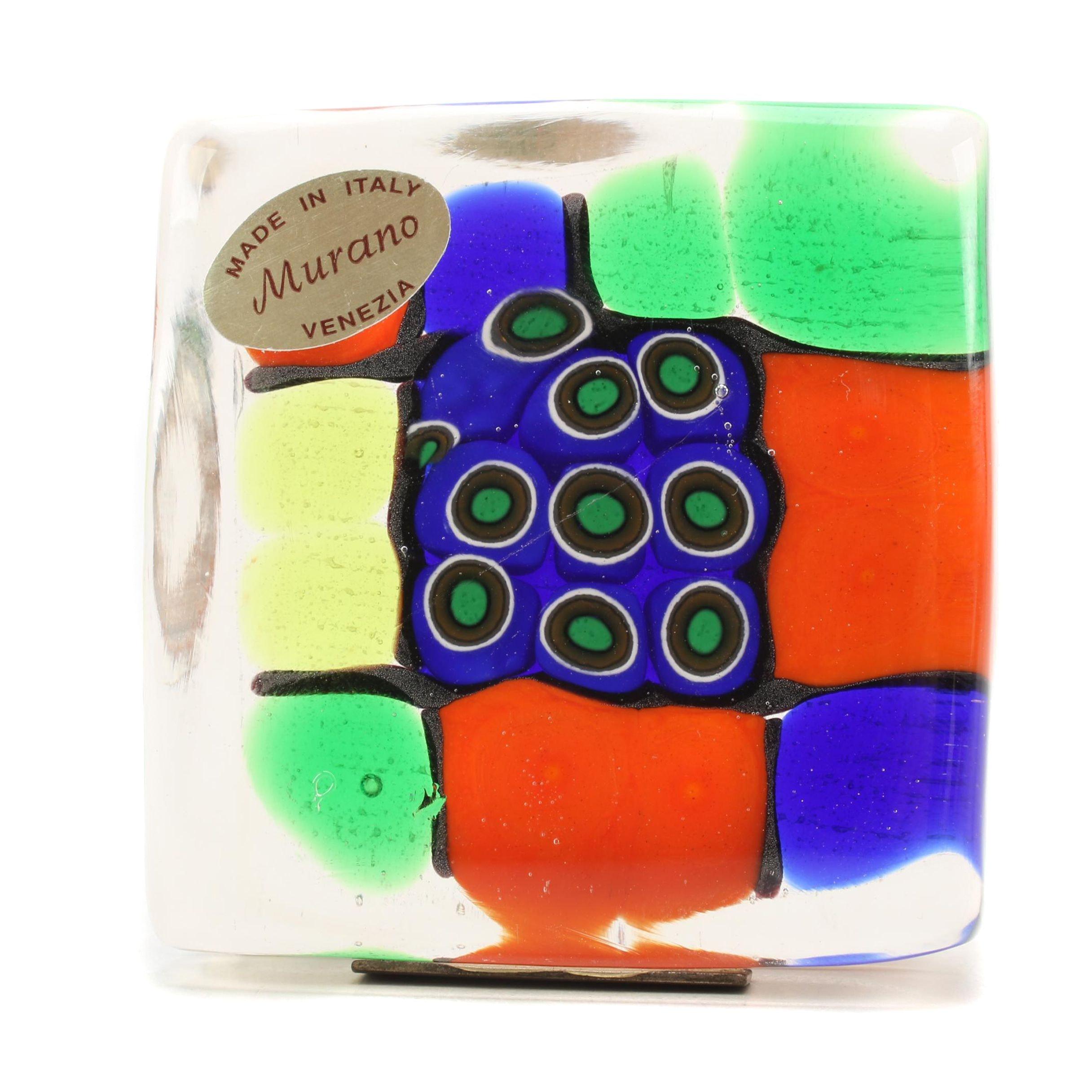 Murano Mosaic Art Glass Paperweight