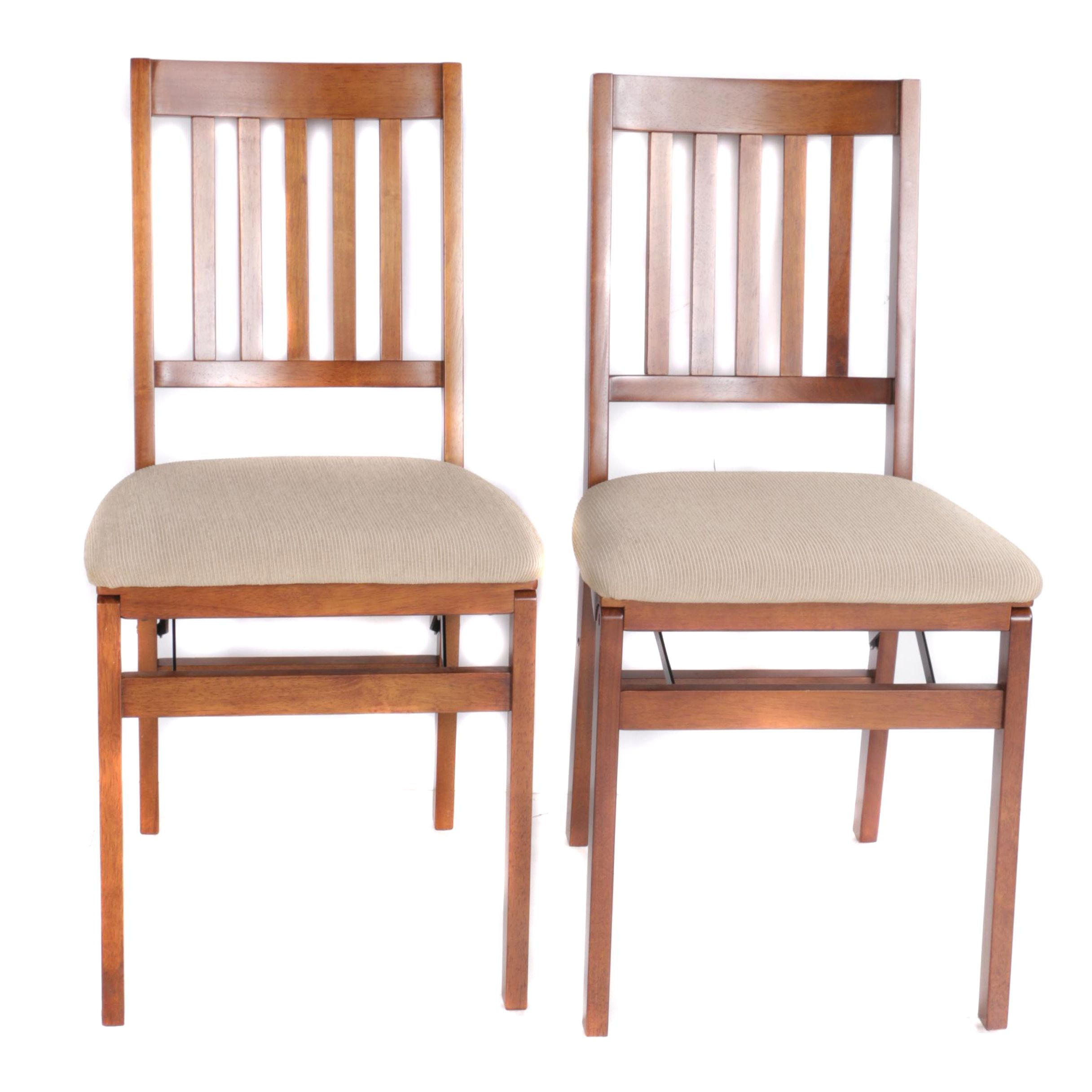 Pair of Slat Back Folding Chairs