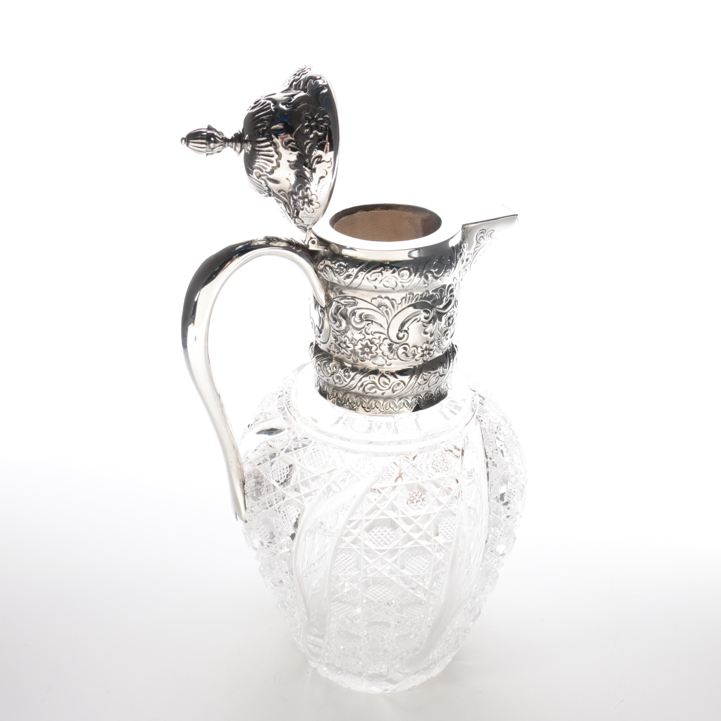 1892 Plante & Co. British Sterling Silver and Crystal Claret Wine Jug