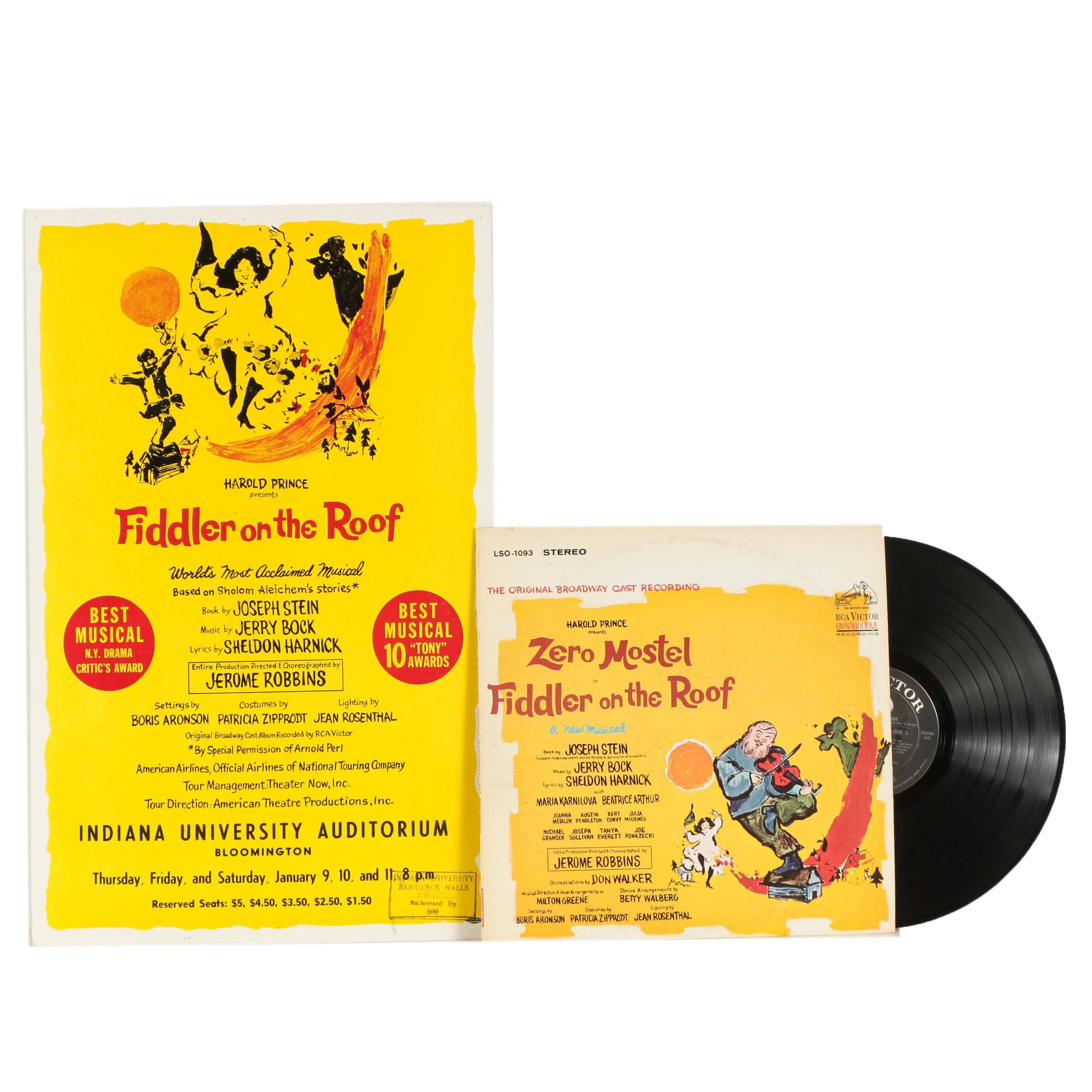 "Indiana University ""Fiddler on the Roof"" Theater Poster with LP From Broadway"