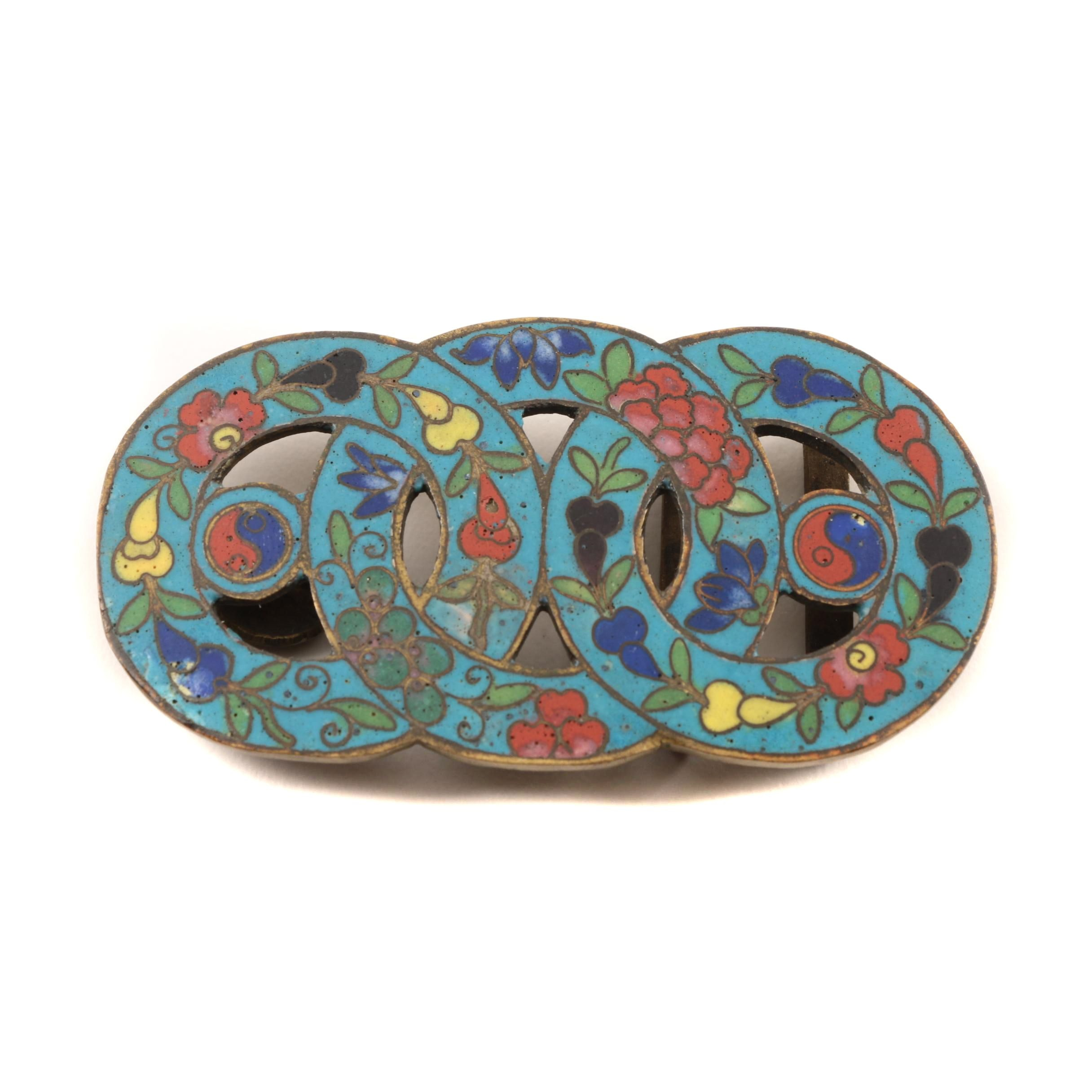 Antique Chinese Cloisonné Buckle