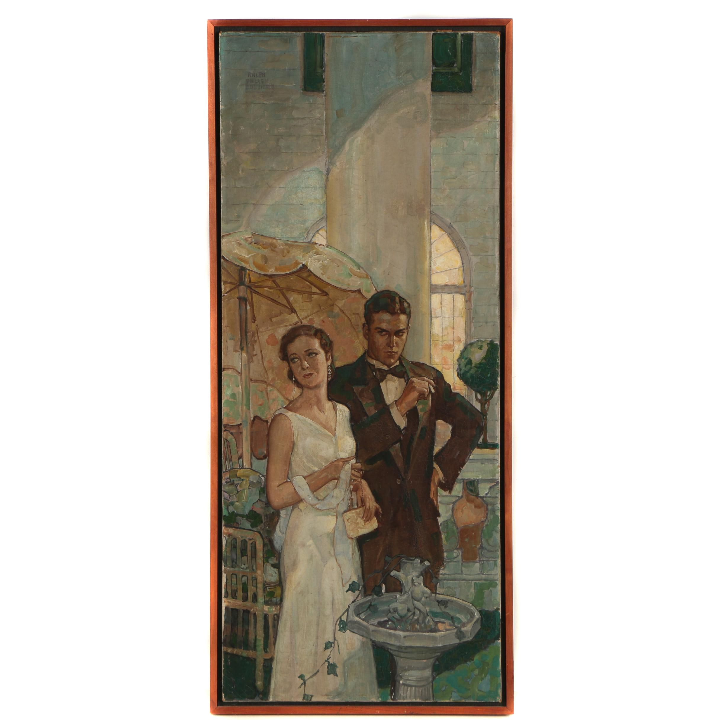 Oil Painting of a Couple Attributed to Ralph Pallen Coleman