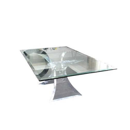 Vintage Modern Lion in Frost Acrylic Base Dining Table