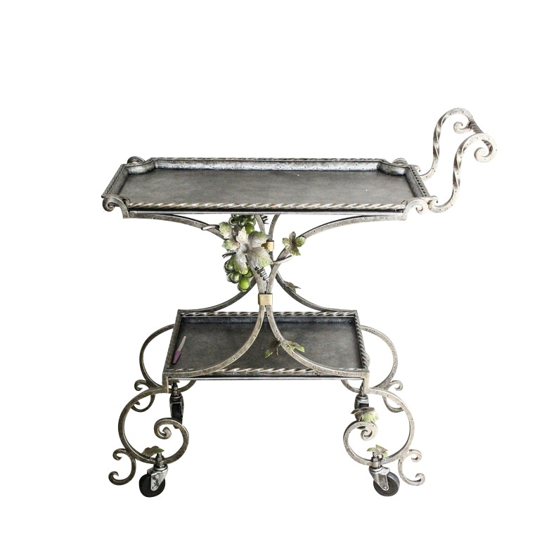 Scrolled Metal Bar Cart with Grapevine Accents