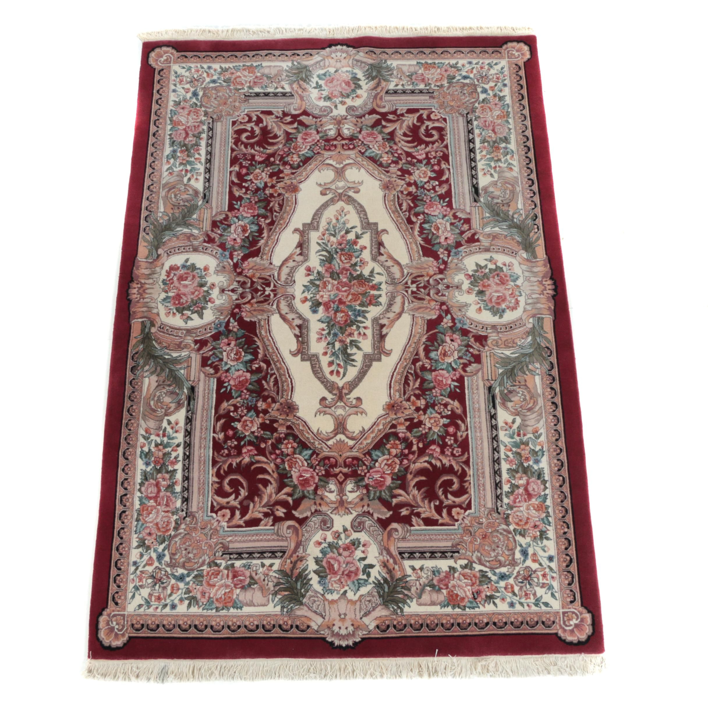 Finely Hand-Knotted Chinese Aubusson-Style Wool Area Rug
