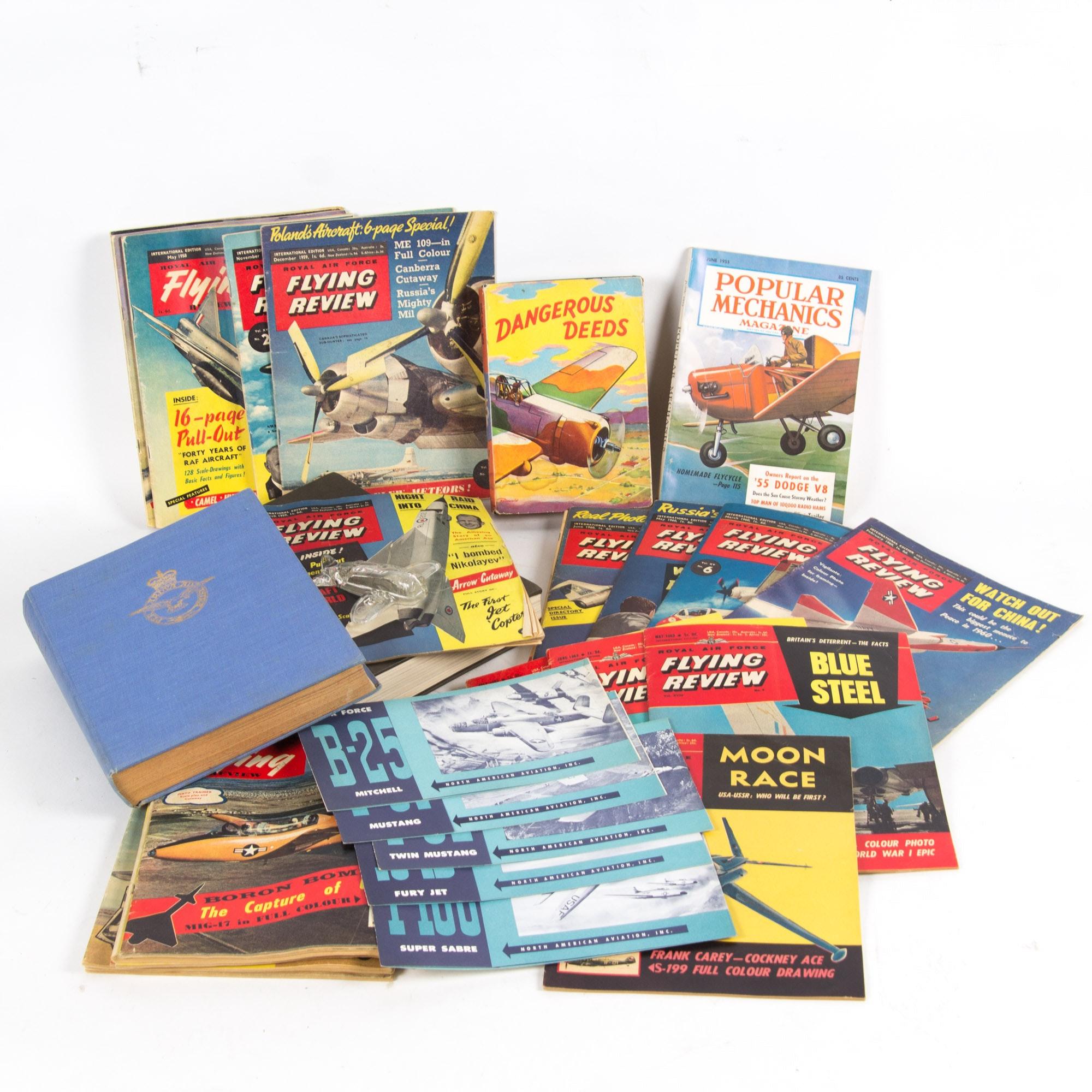 Assortment of Vintage Flying Themed Magazines and Ephemera