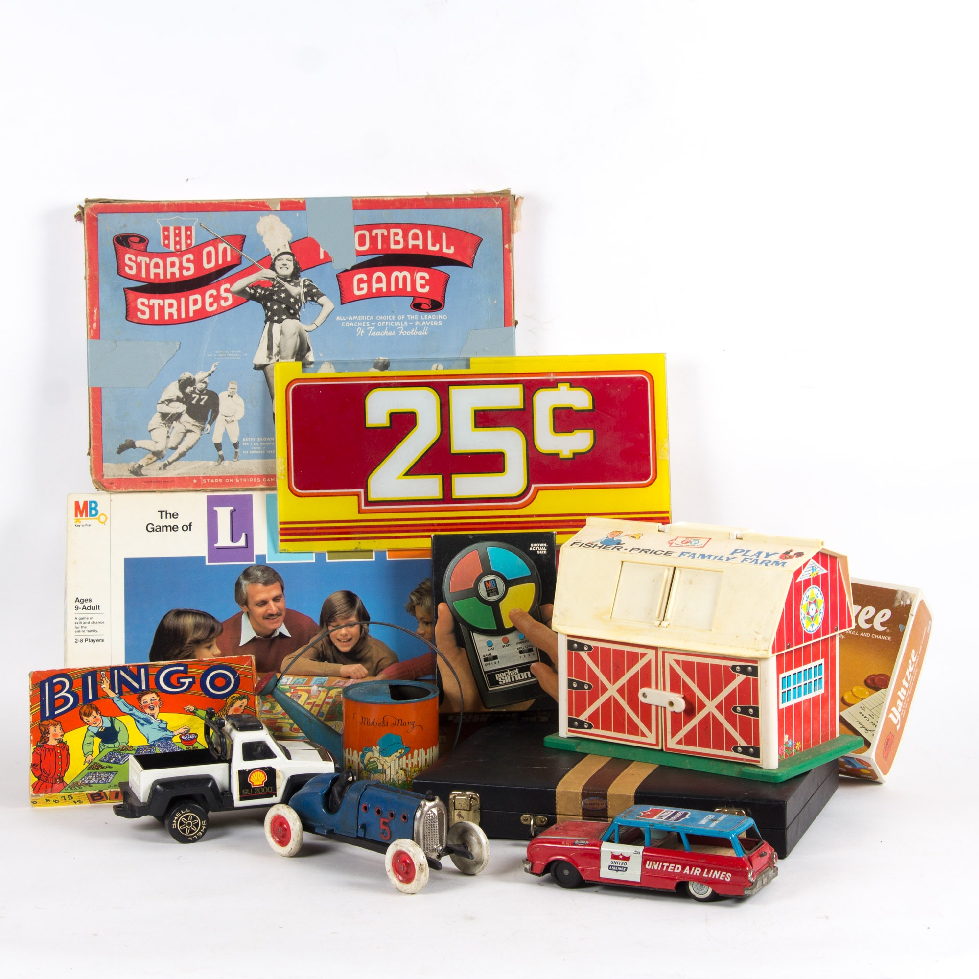 Assortment of Vintage Board Games and Toys