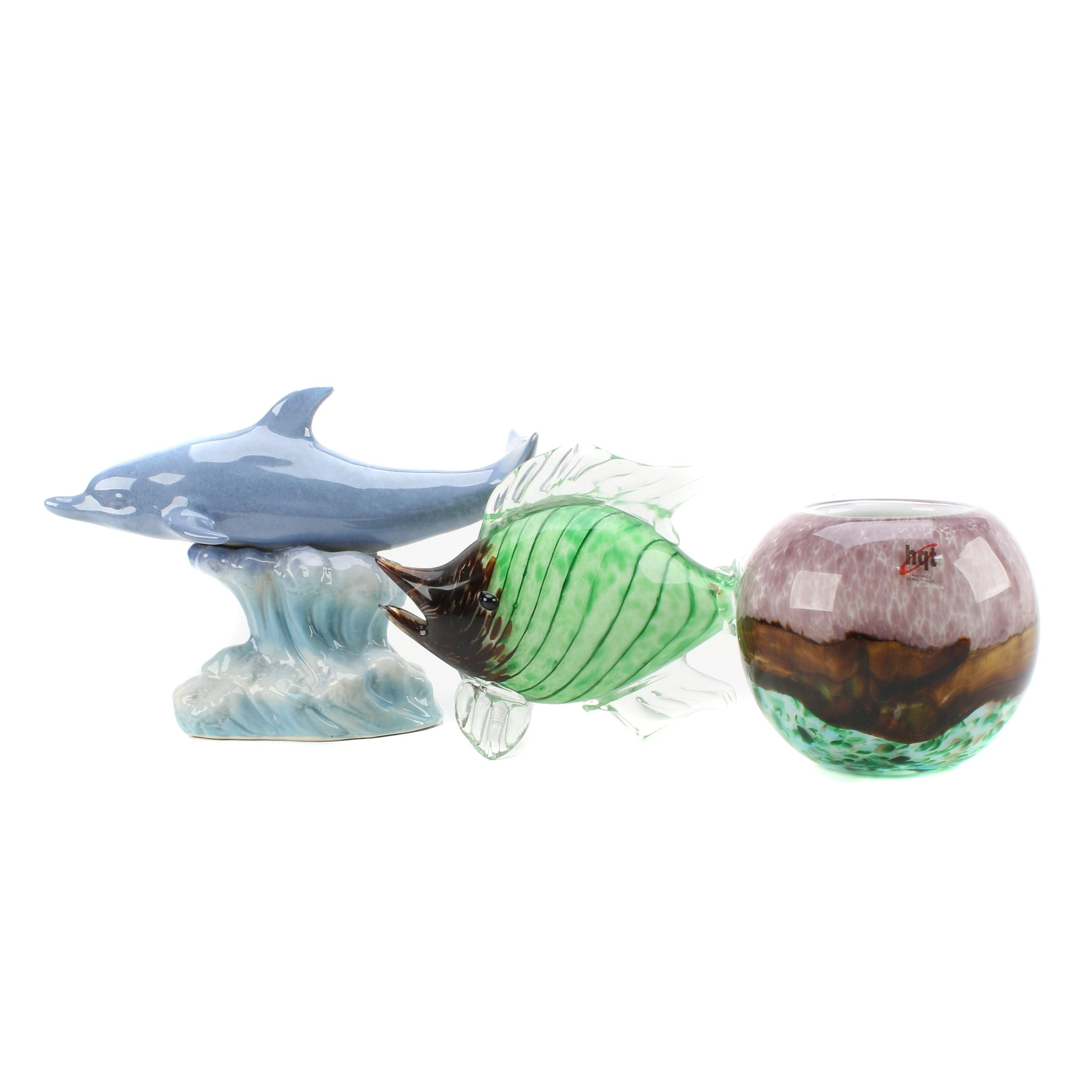 Glass and Ceramic Figurines and Art Glass Vase