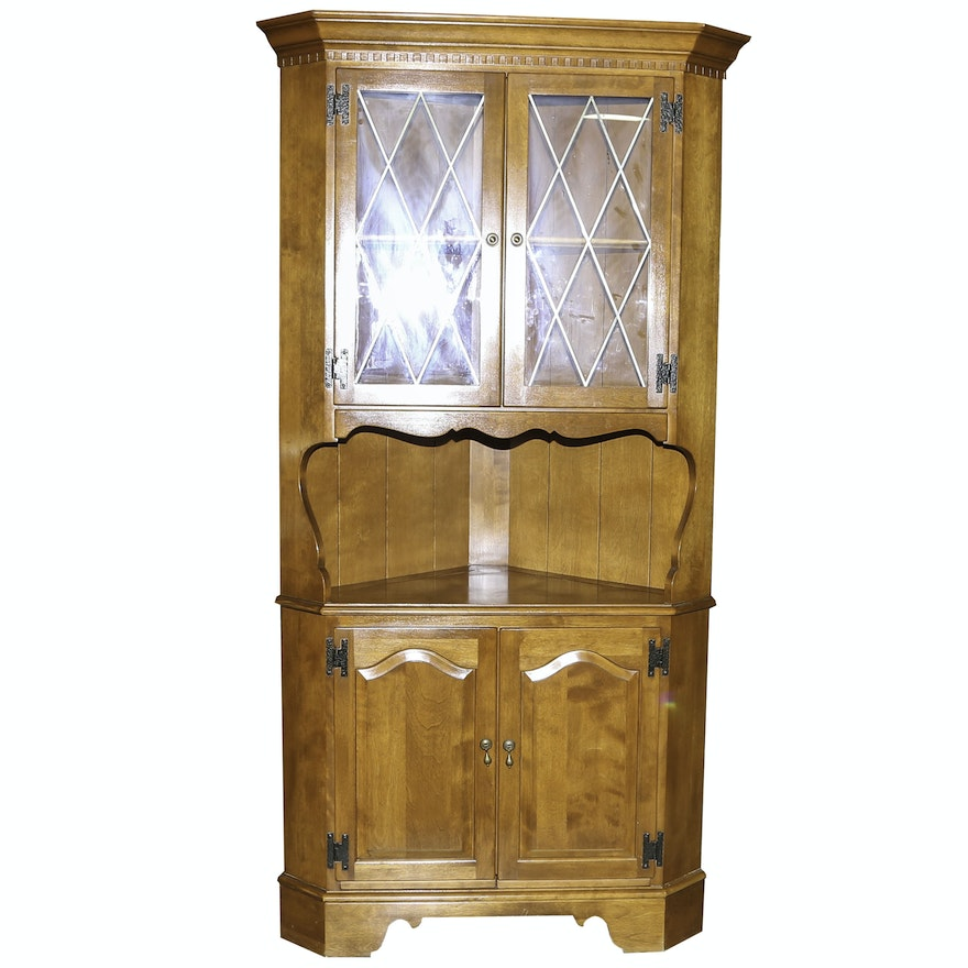 Colonial Revival Style Corner Cabinet By Ethan Allen