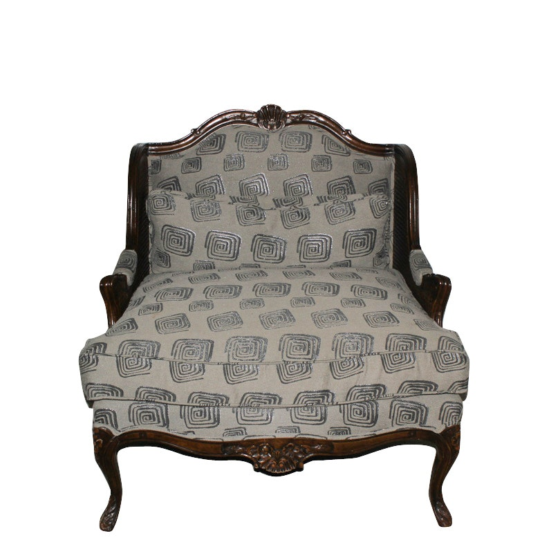 Vintage Louis XV Style Carved and Caned Upholstered Armchair