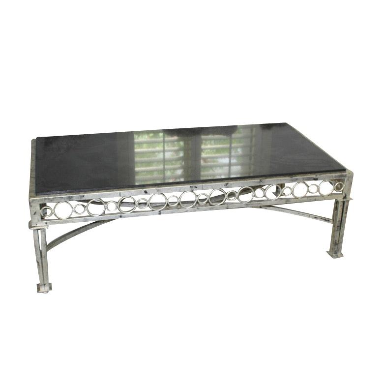Granite Top Metal Coffee Table