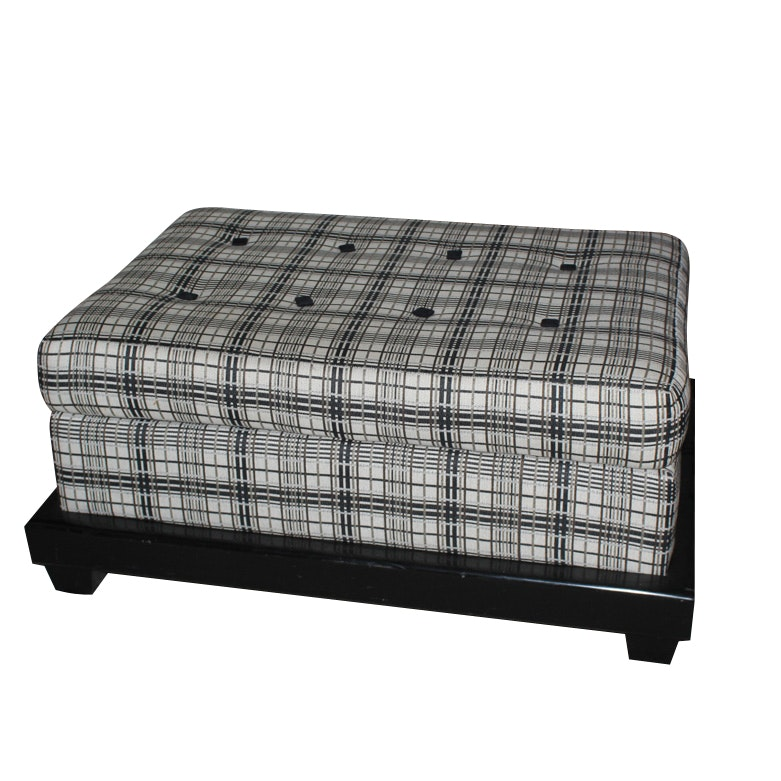 Button-Tufted Upholstered Ottoman