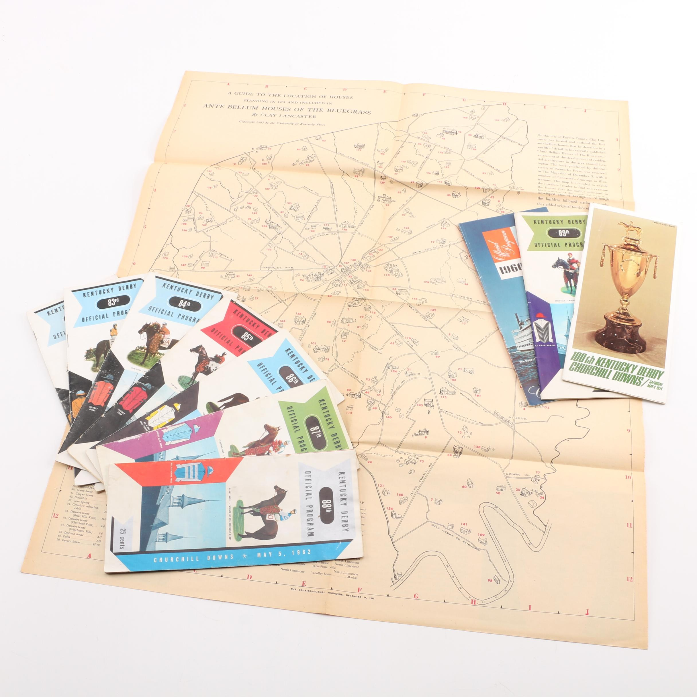 Vintage Kentucky Derby Programs with Map