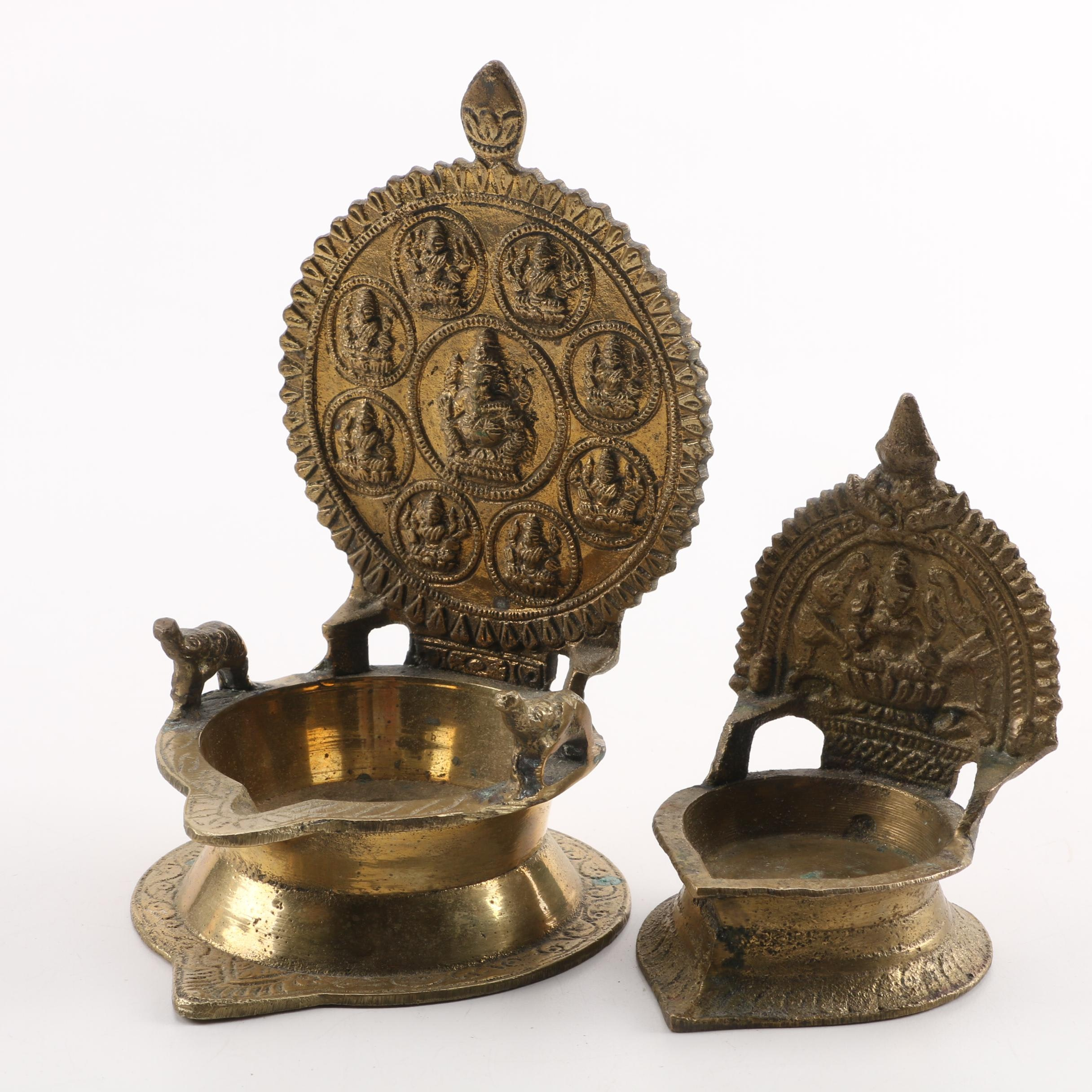 Pair of Brass Incense Dishes