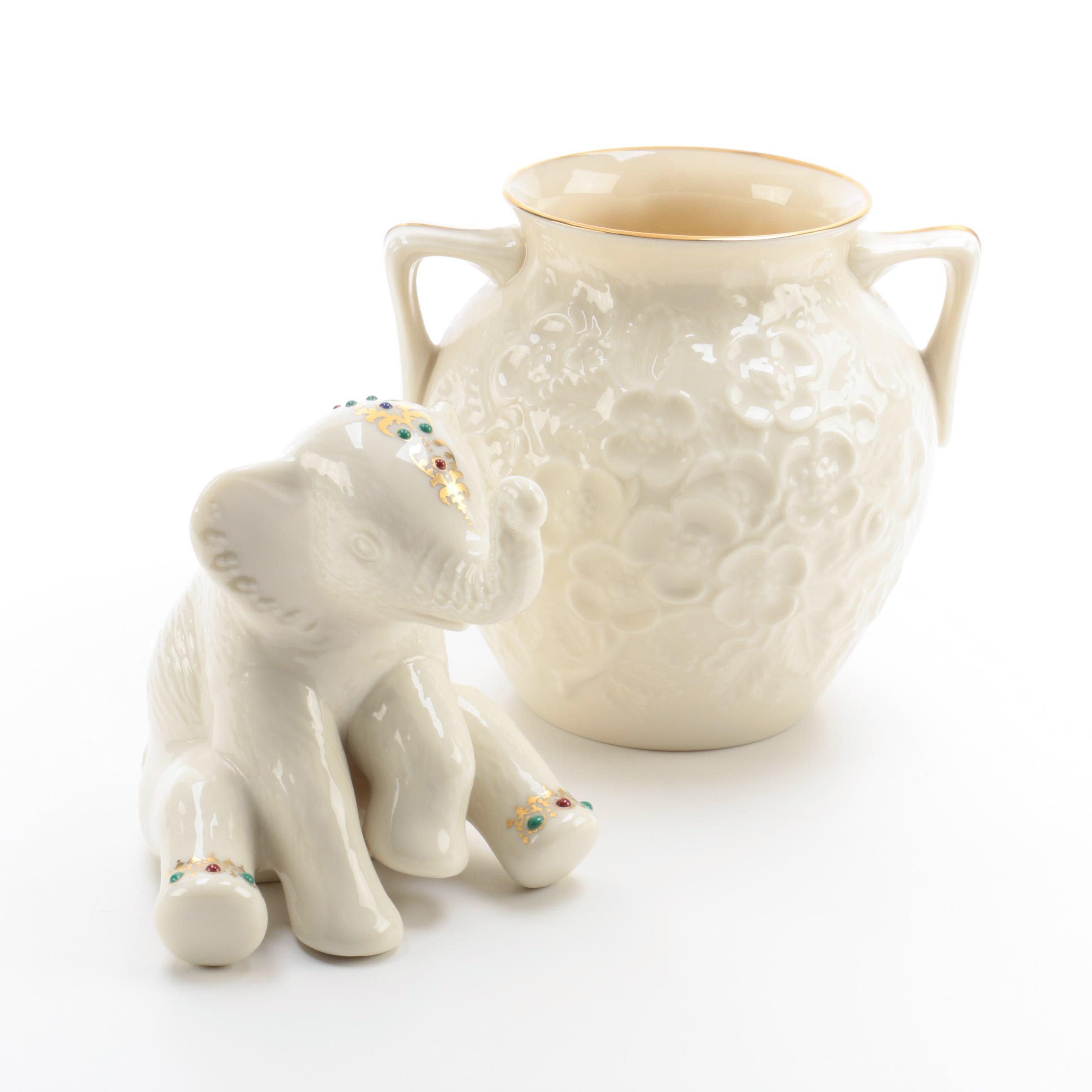 Lenox Porcelain Elephant Figurine and Vase