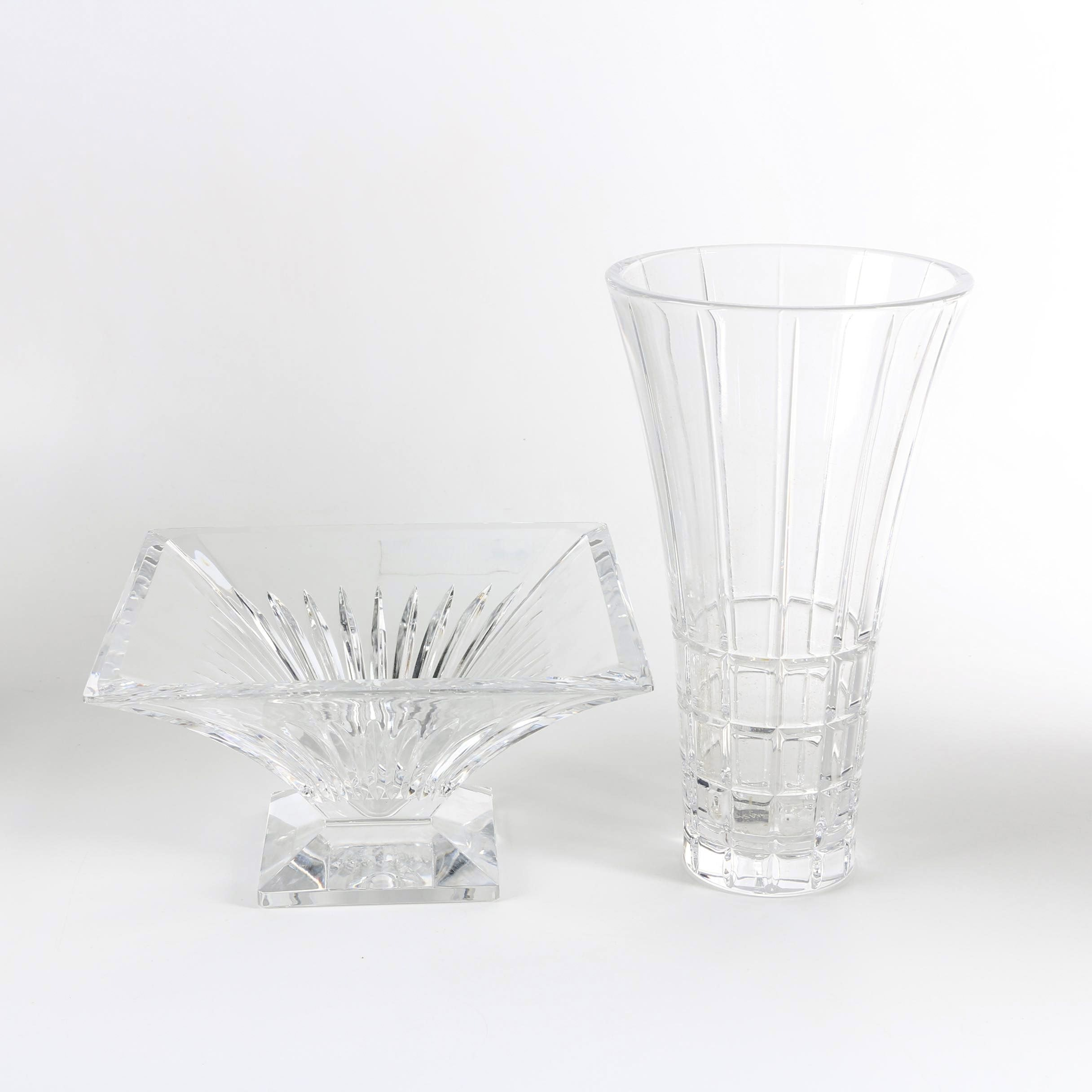 "Mikasa ""Avenue"" Crystal Vase with Square Footed Bowl"