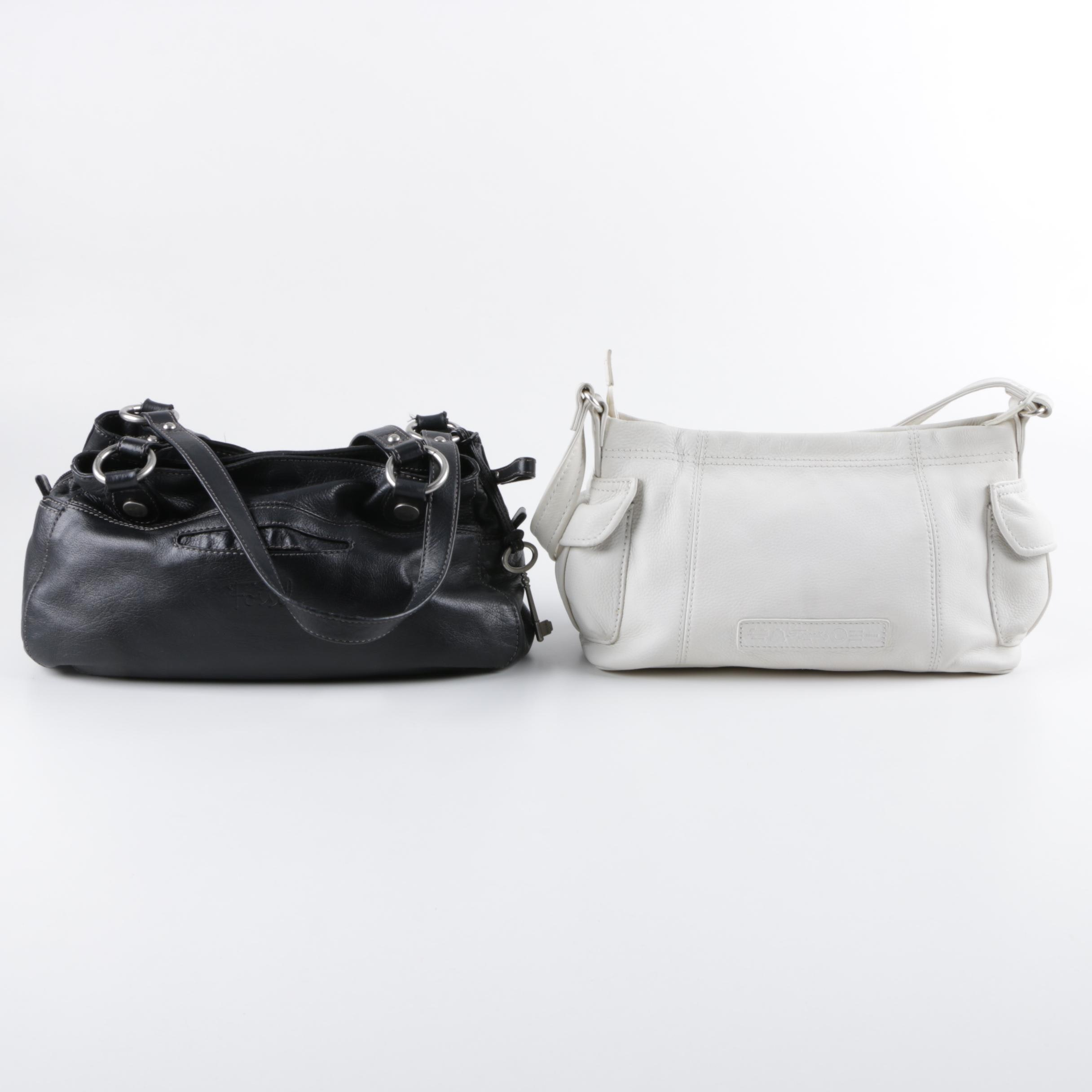 Fossil Black and White Pebbled Leather Handbags