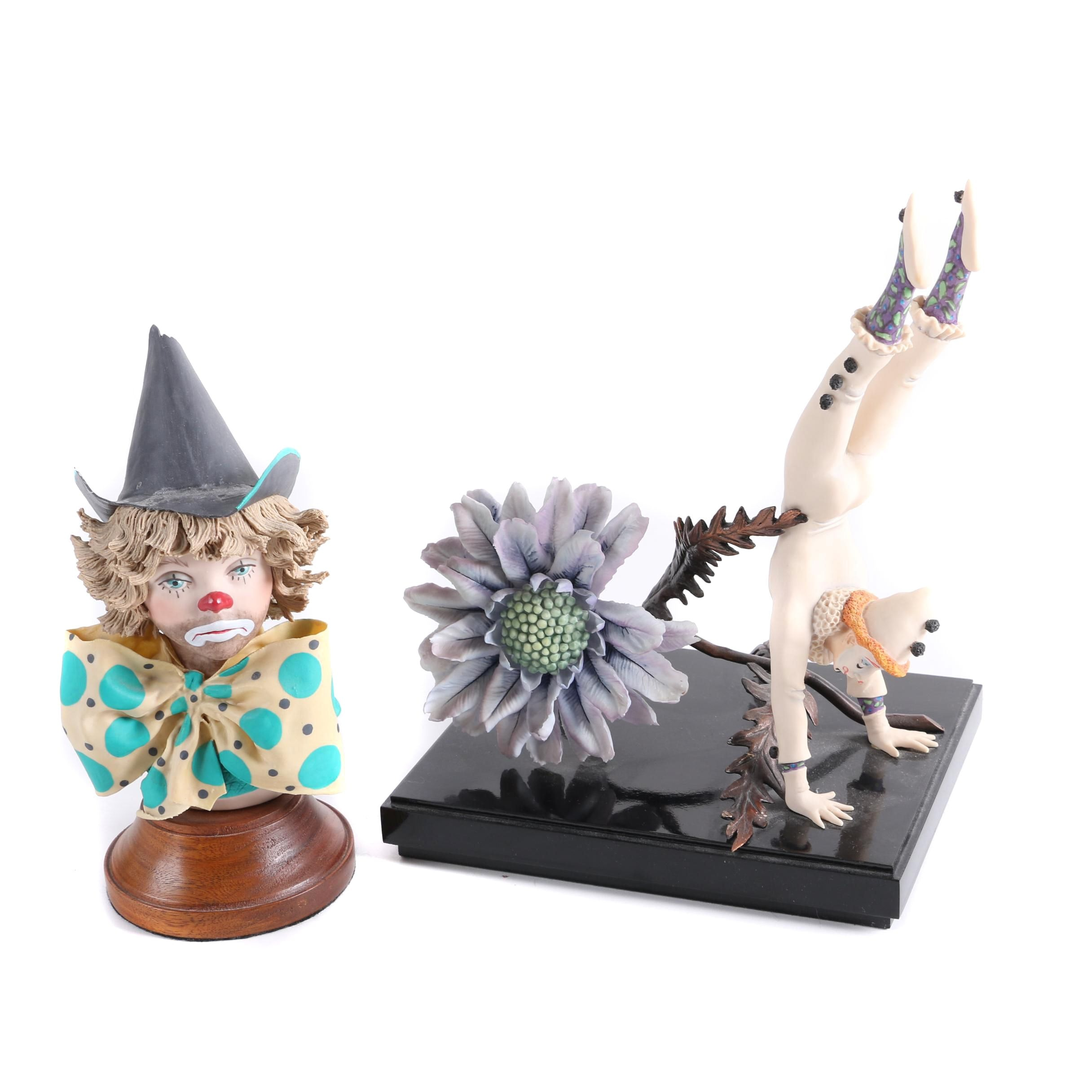 Limited Edition Clown Themed Porcelain Figurines