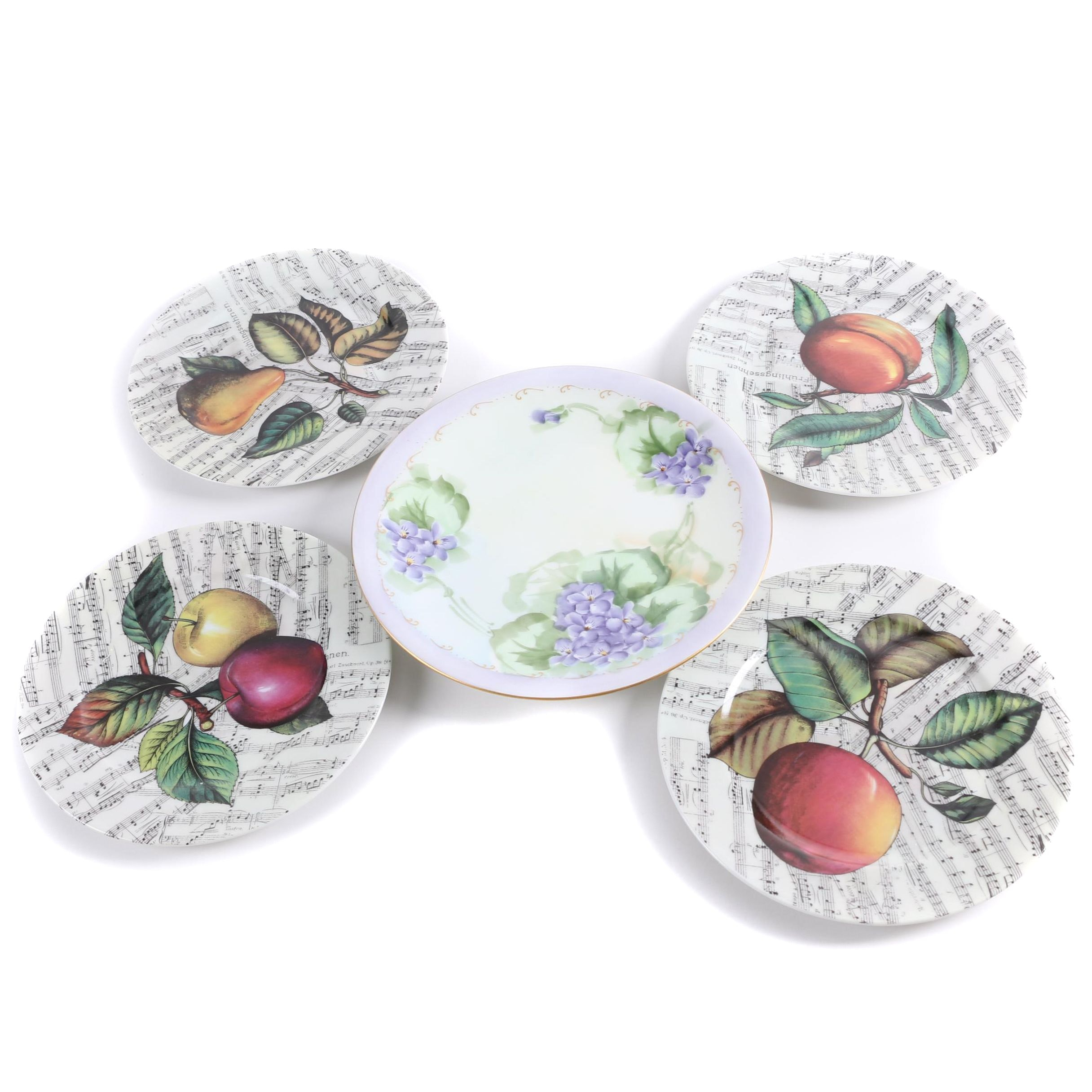I Godinger Fruits with Sheet Music and Limoges Floral Plates