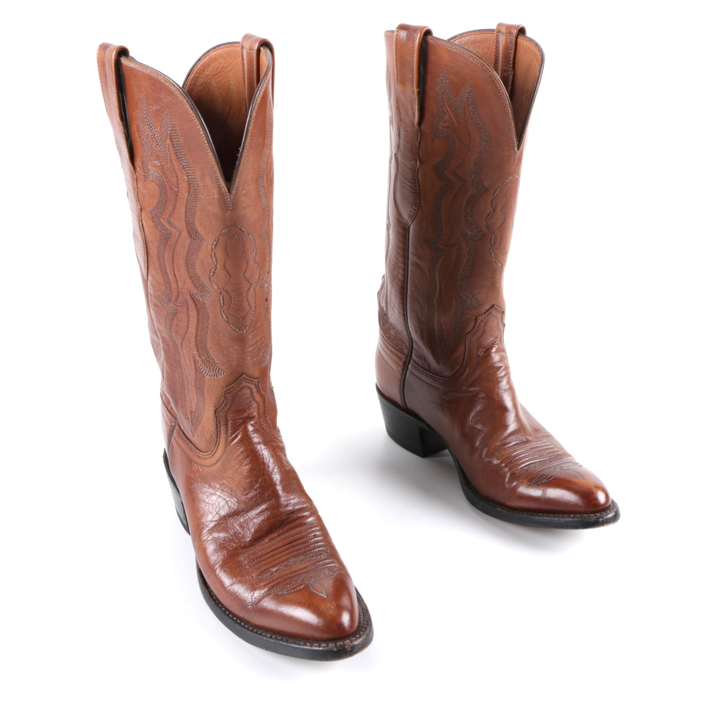 Women's Lucchese 2000 Brown Leather Cowgirl Boots