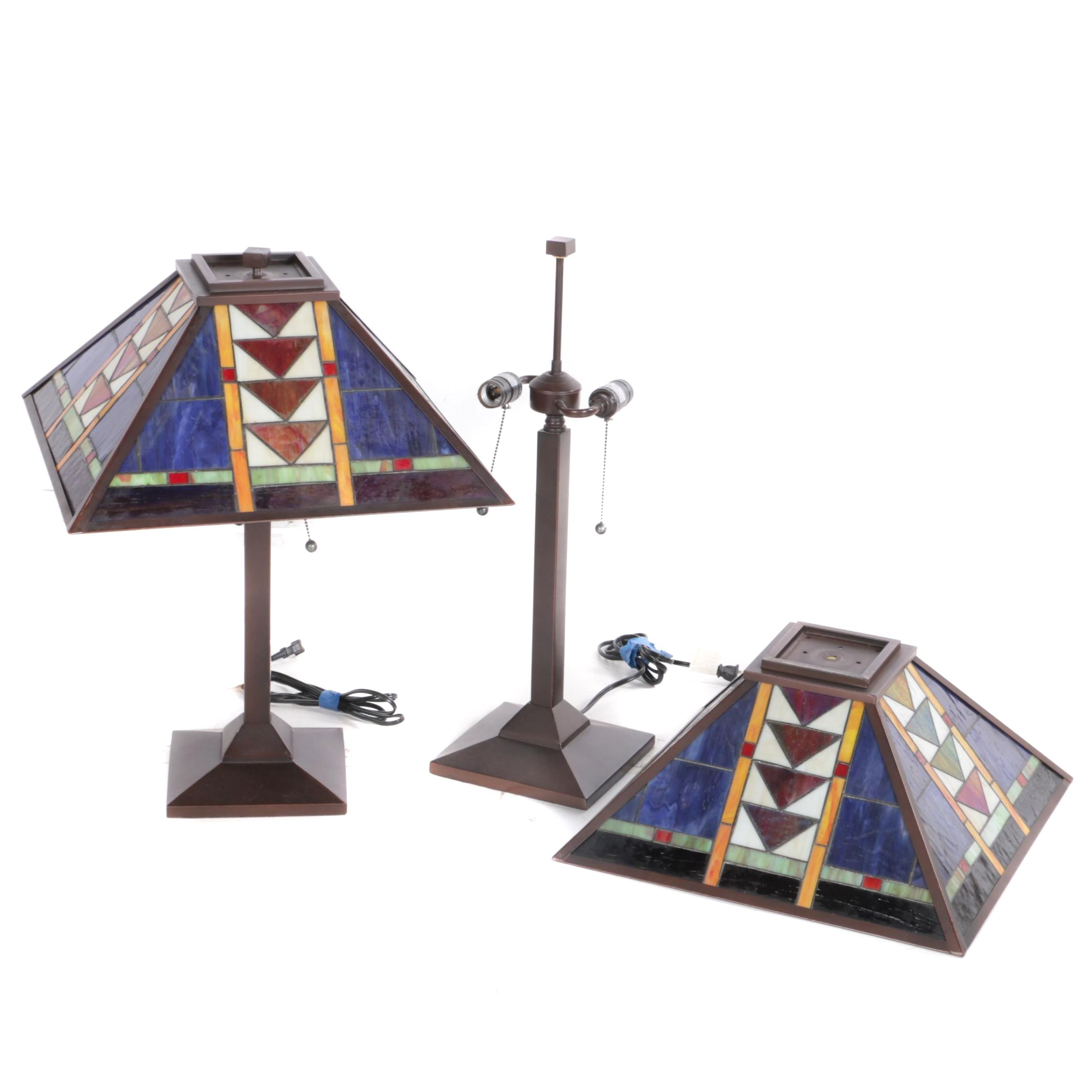 Pair of Mission Style Accent Lamps With Stained Glass Shades