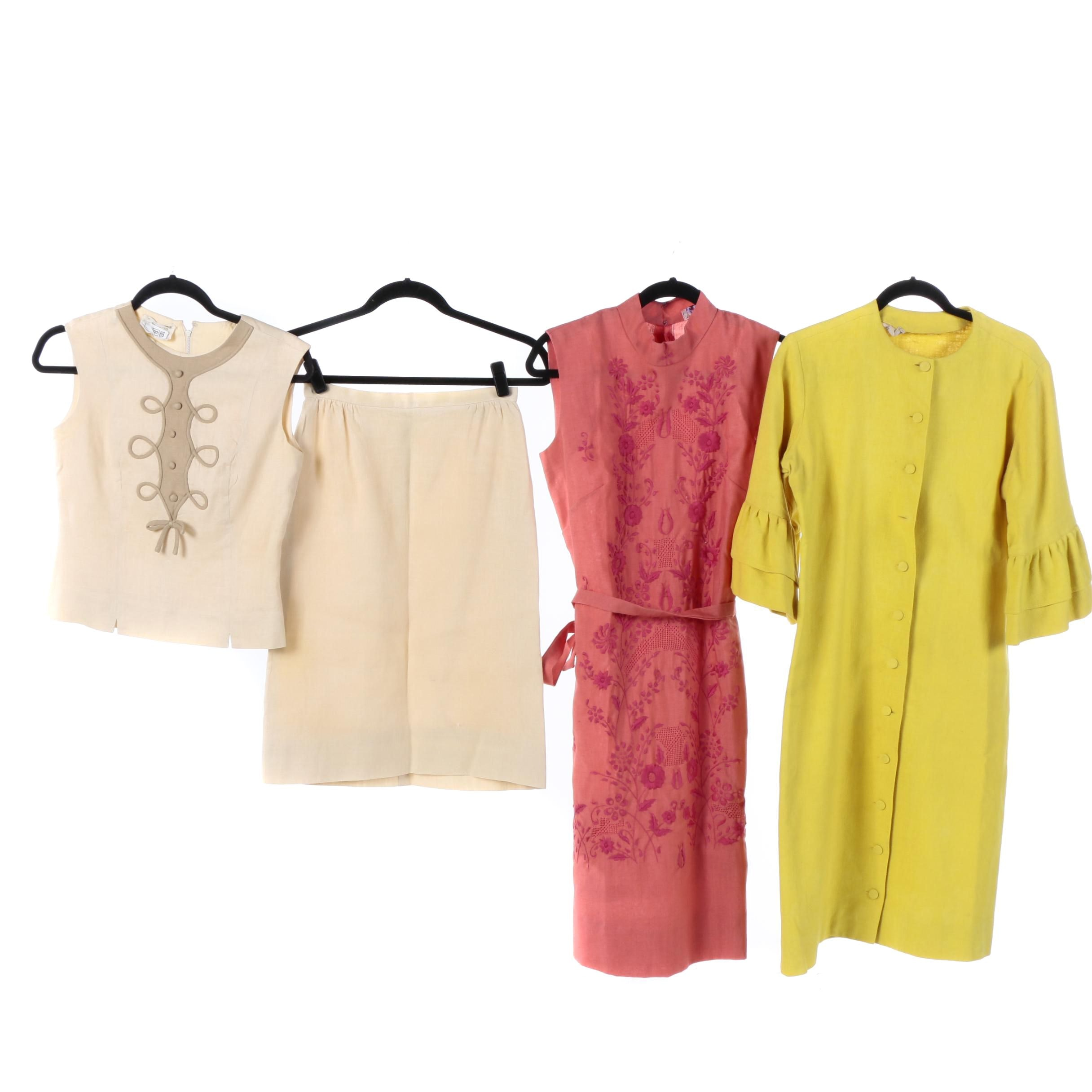 1960s Vintage Linen Dresses Including Embroidery, Susan Thomas