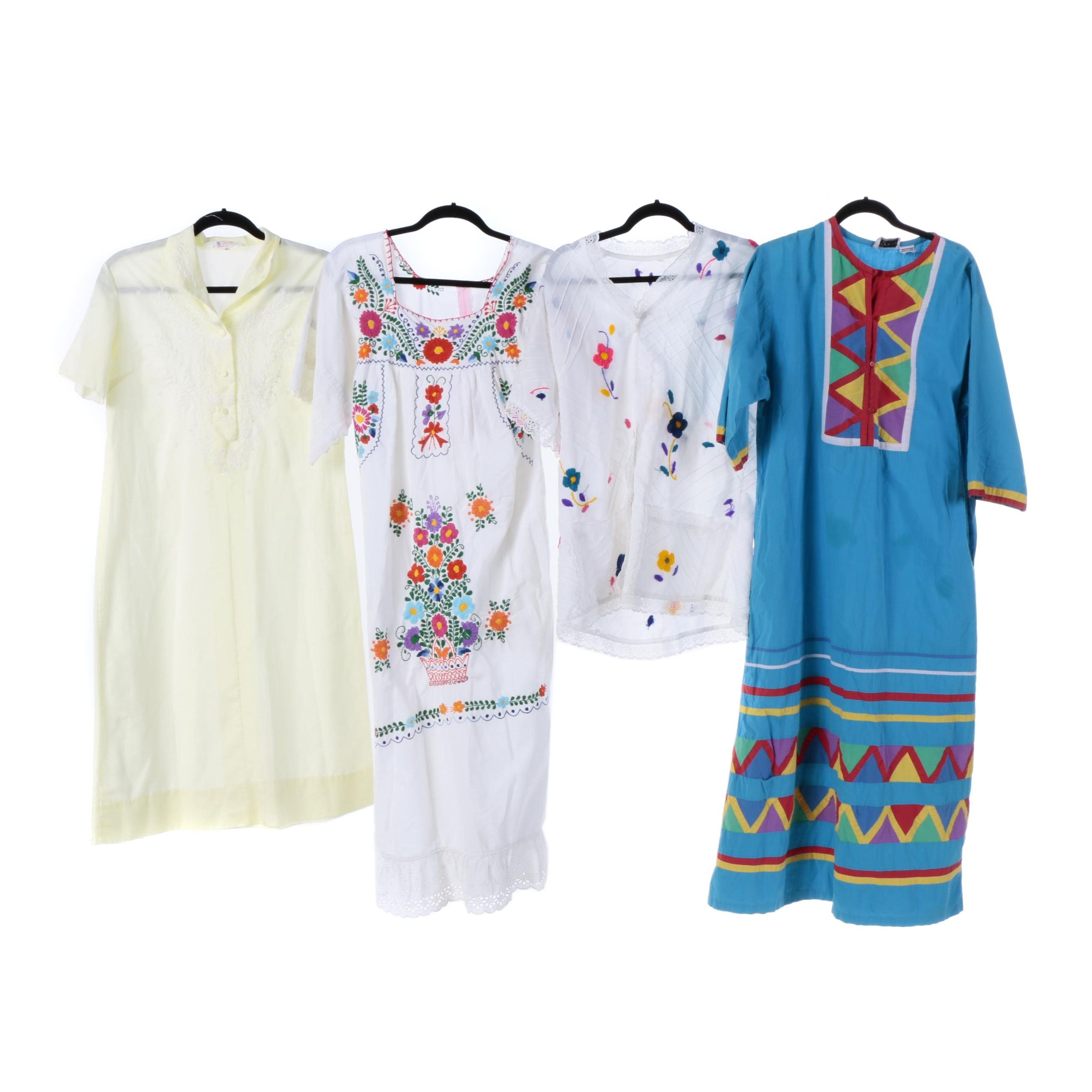 Vintage Mexican, Indian and Cuban Embroidered Cotton Dresses and Top