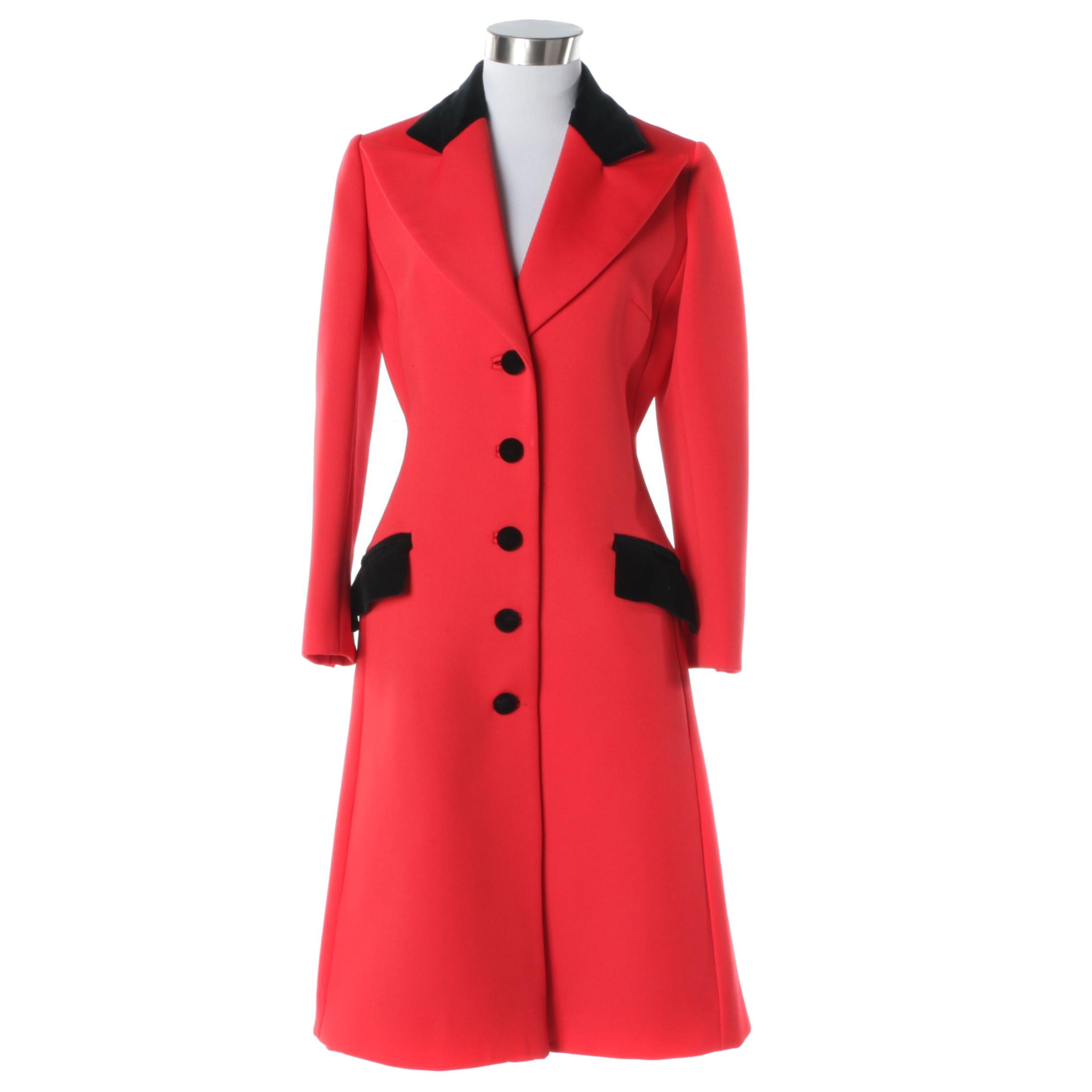 Women's 1960s Vintage Lilli Ann Mod Red and Black Coat