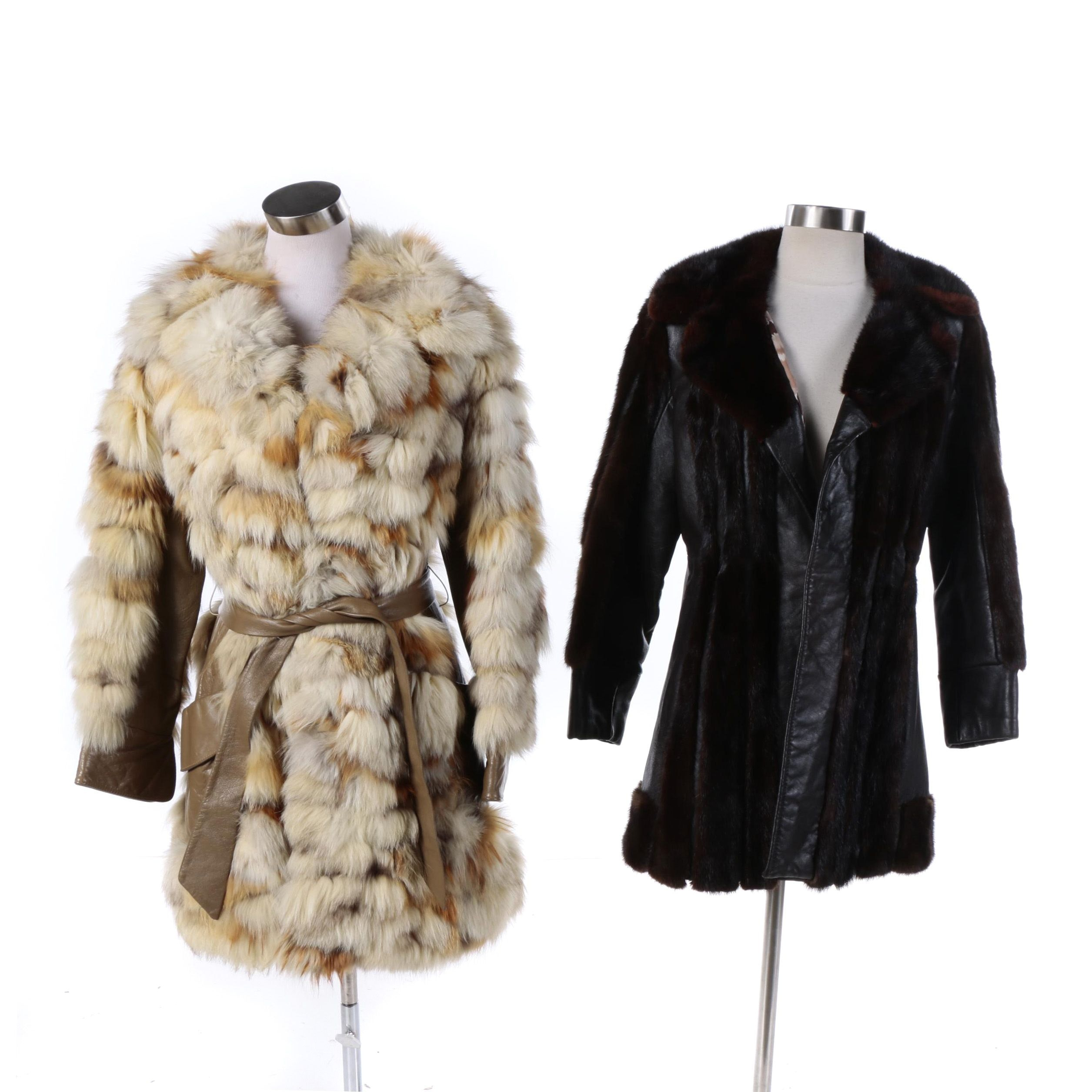 1970s Vintage Leather and Mink and Rabbit Fur and Leather Coats