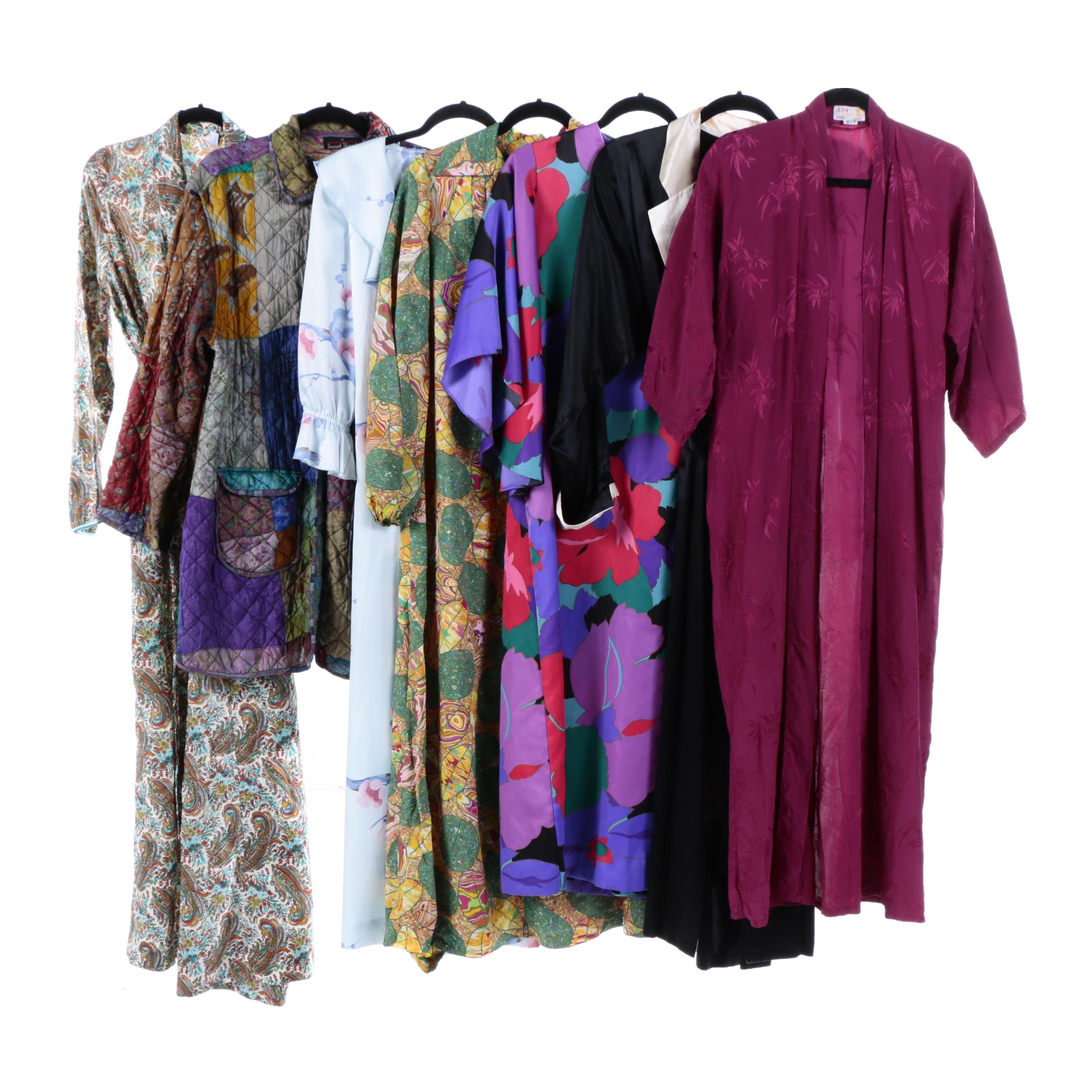 Women's 1970s Vintage Maxi Dresses, Robes, and Kaftans Including Silk