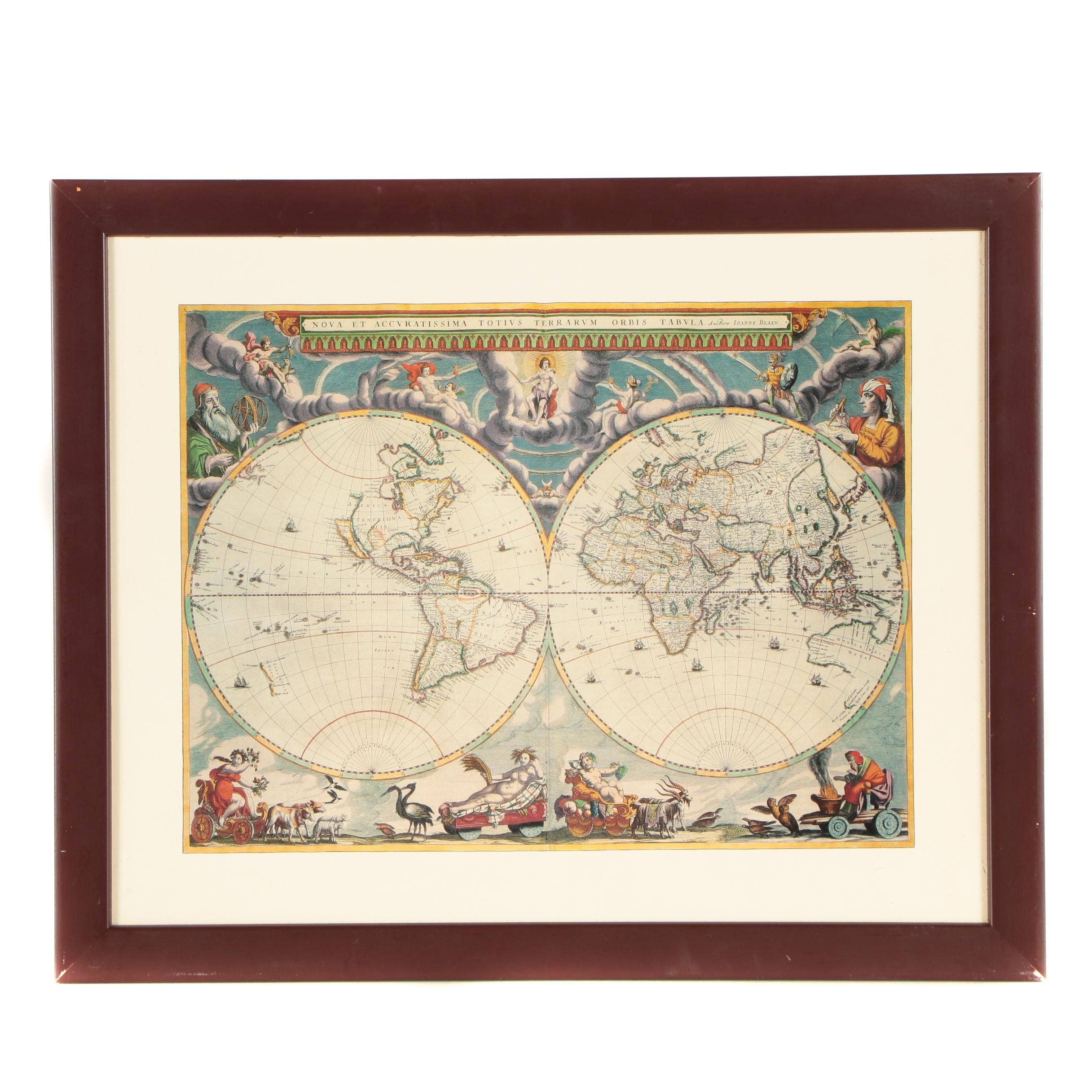 "Reproduction Map After Joan Blaeu ""Nova et Accuratissima Terrarum Orbis Tabula"""