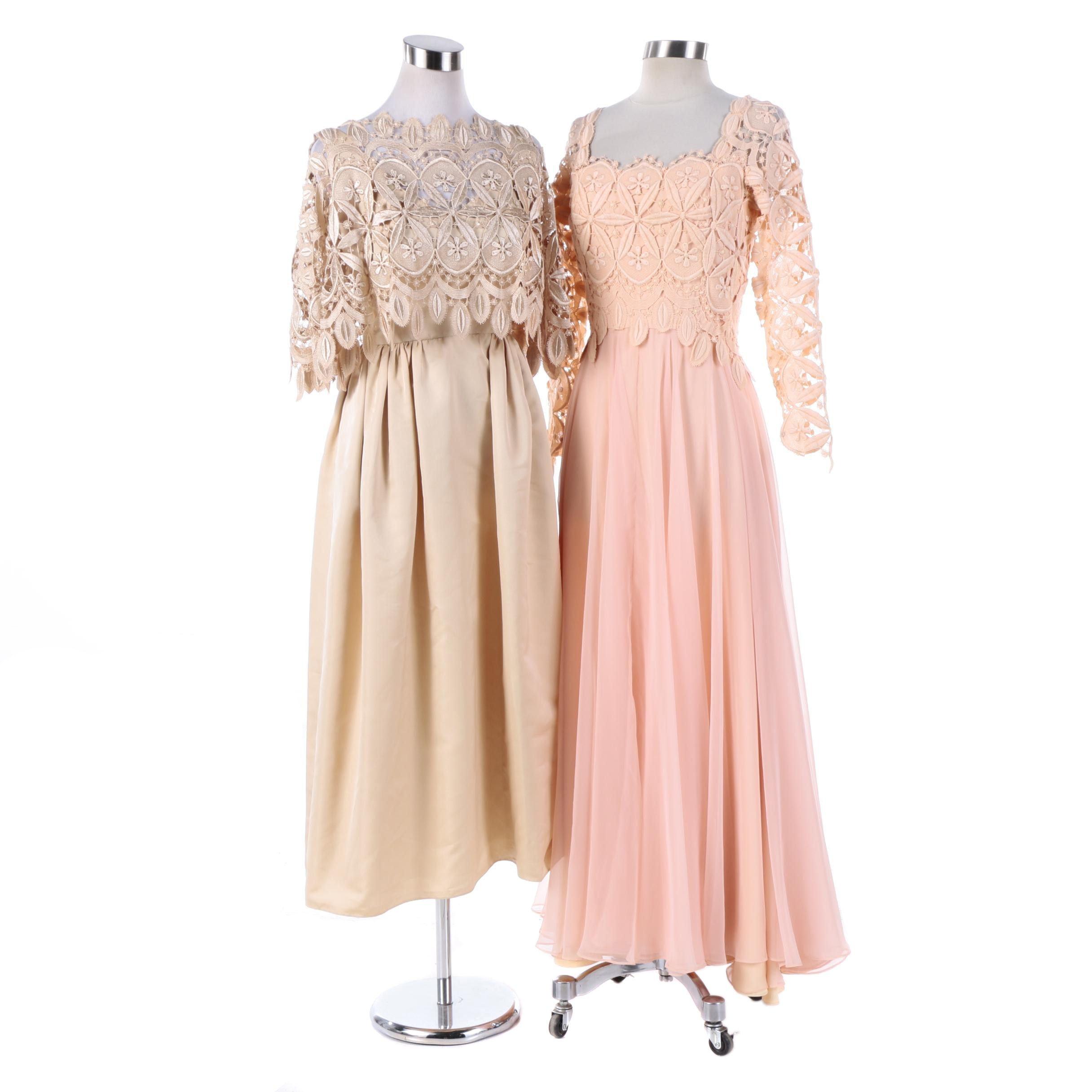 1960s Vintage Guipure Lace Evening Dresses