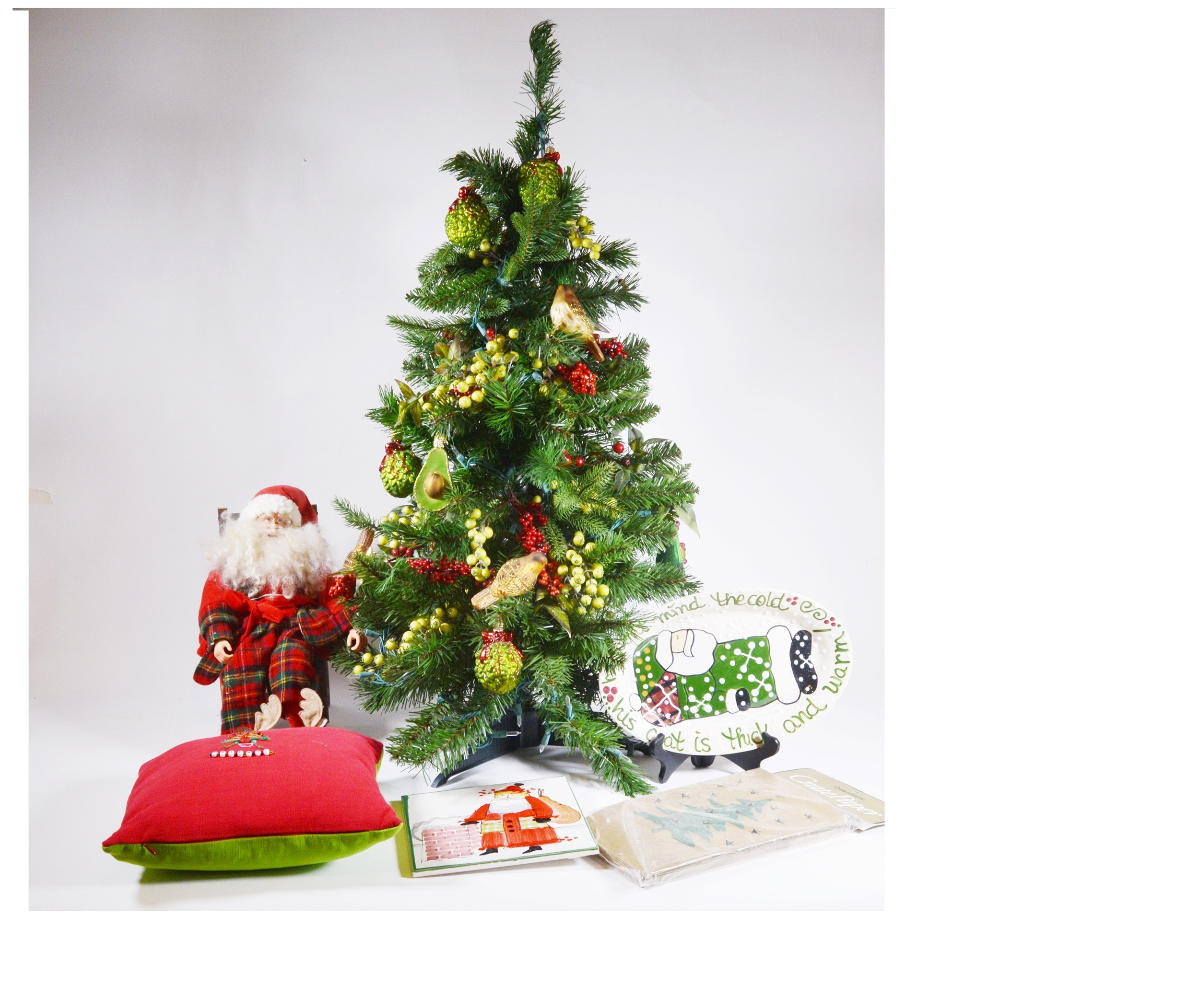 Table Top Christmas Tree With Glass Ornaments and Other Holiday Decor