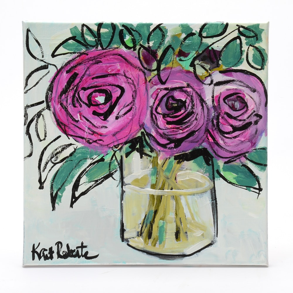"Kaitlin Roberts Acrylic Painting on Canvas ""Three Roses in a Glass Vase"""