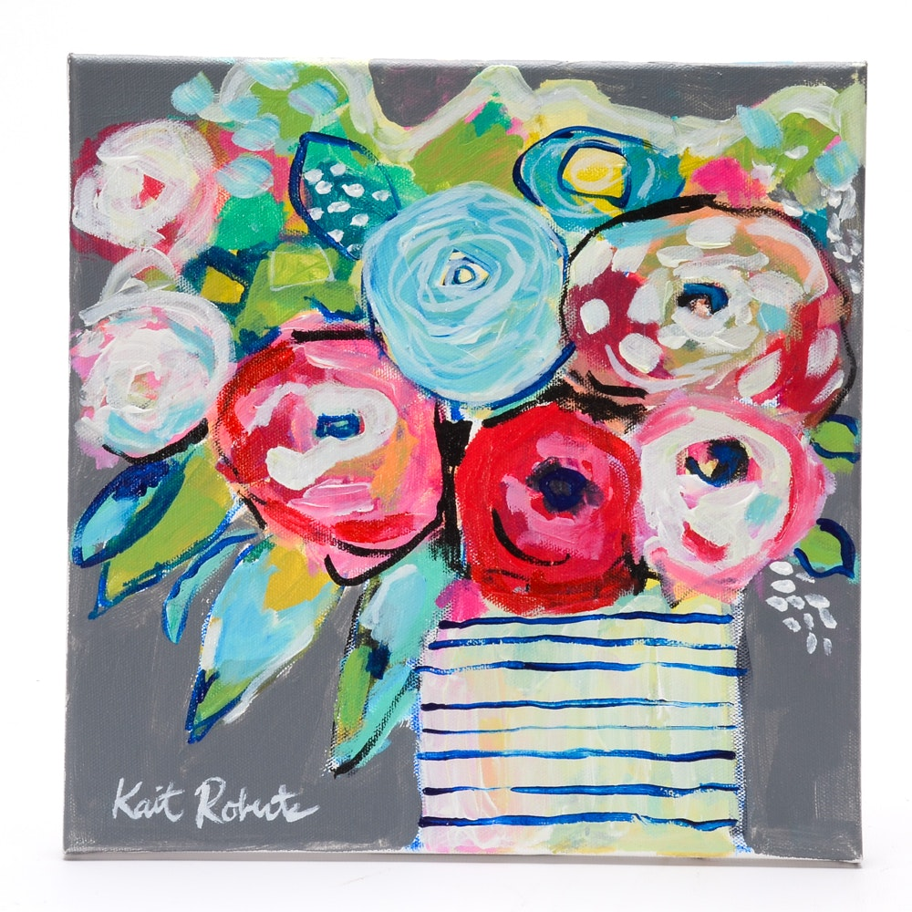 Kaitlin Roberts Contemporary Acrylic on Canvas Floral Painting